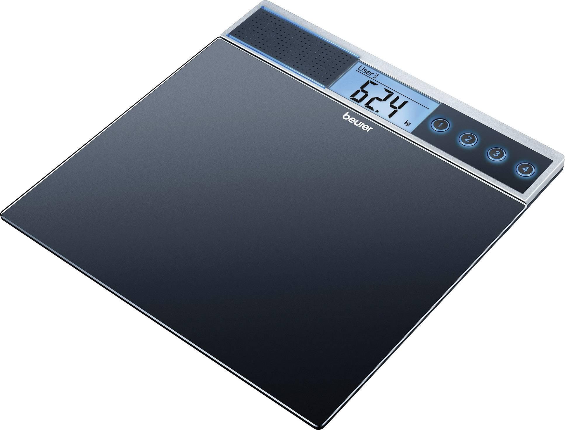 Skleněná váha Beurer GS 39, 744.00, mluvící více jazyky, černá
