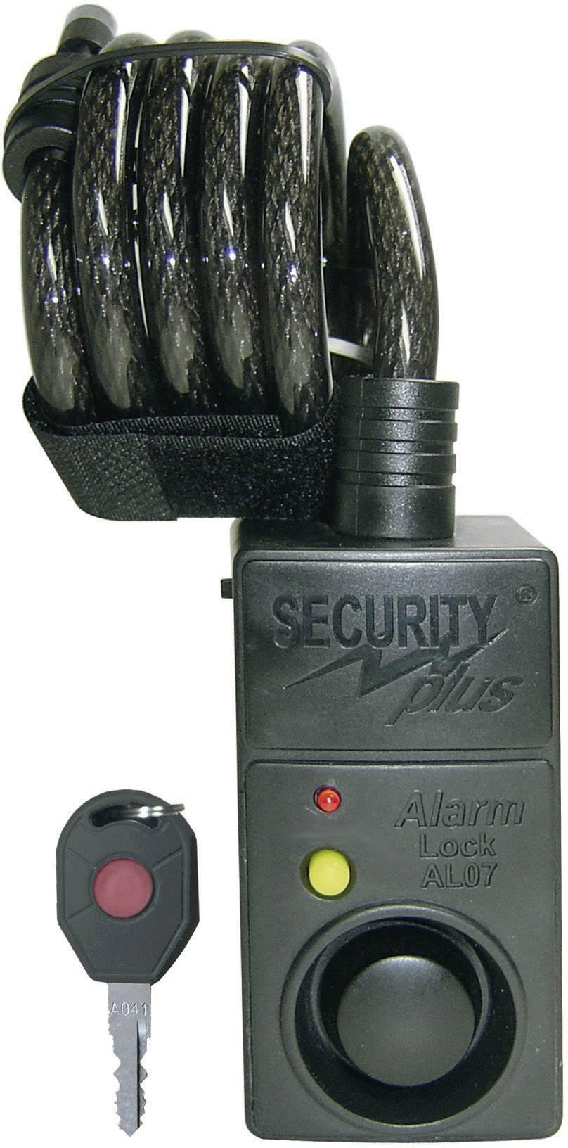 Kabelový zámek s alarmem Security Plus AL07, (Ø x d) 10 mm x 1200 mm, černá
