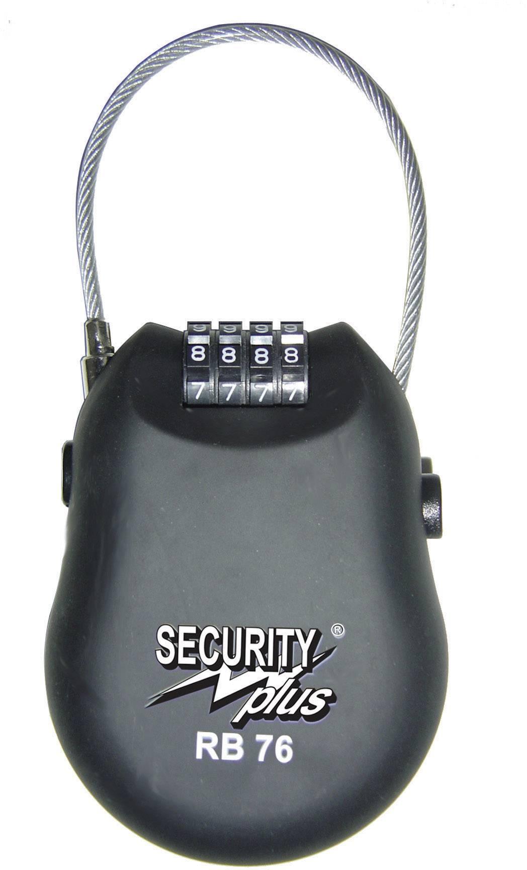 Lankový zámok Security Plus 0076, (Ø x d) 3 mm x 1000 mm, čierna