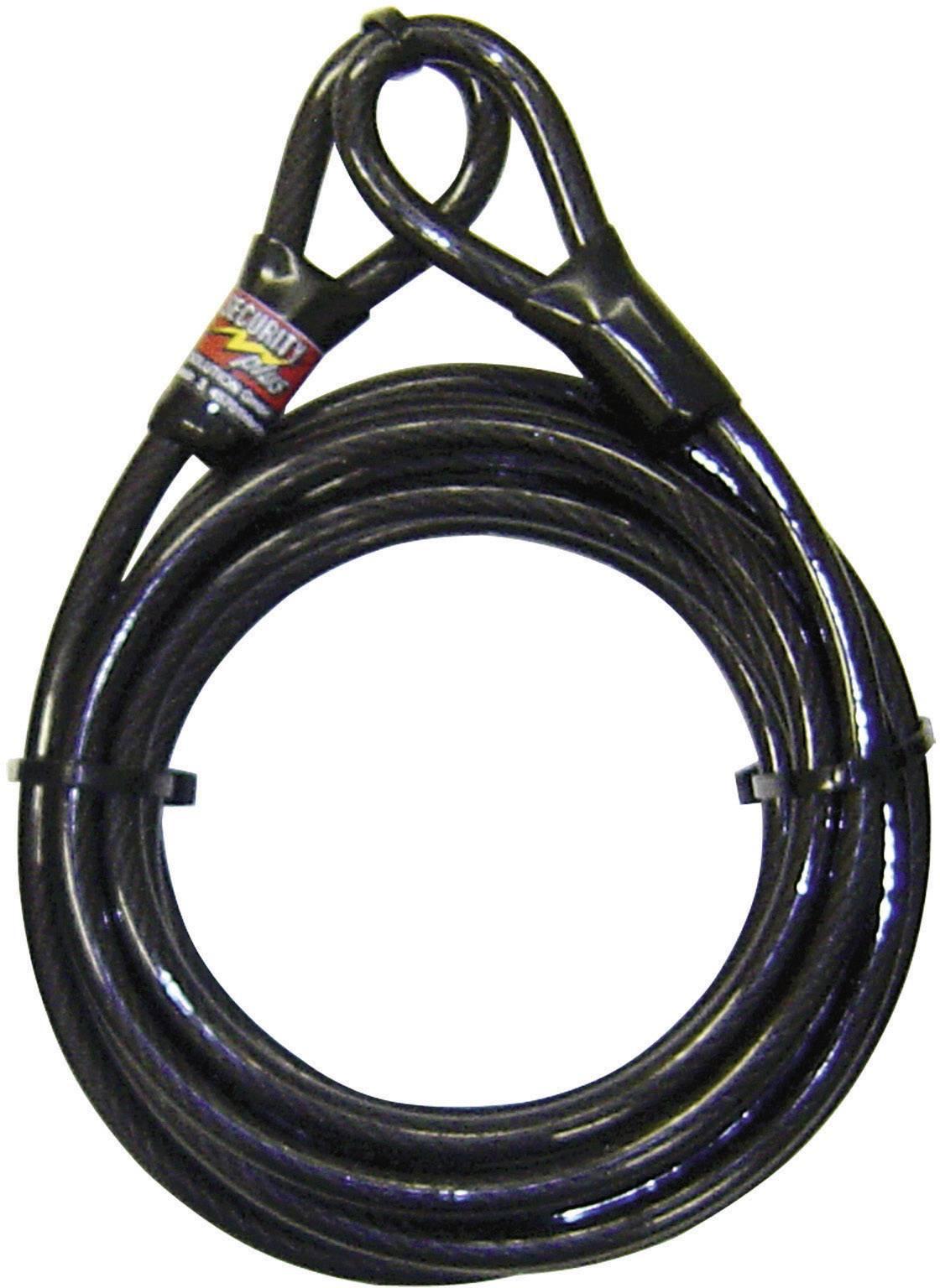 Oceľové lanko s očkami Security Plus 0290, (Ø x d) 10 mm x 5000 mm, čierna