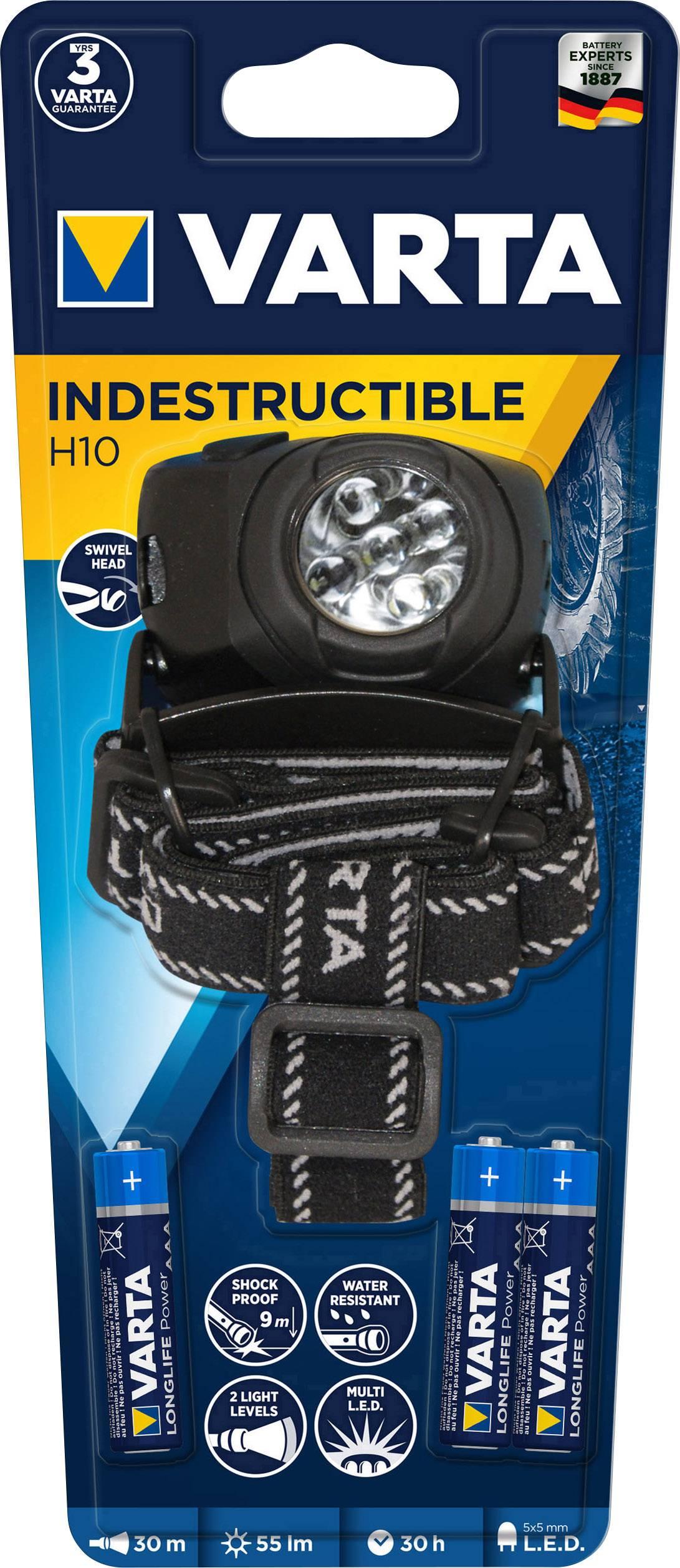 LED čelovka Varta X5 17730 101 421, na batérie, 65 g, čiernostrieborná
