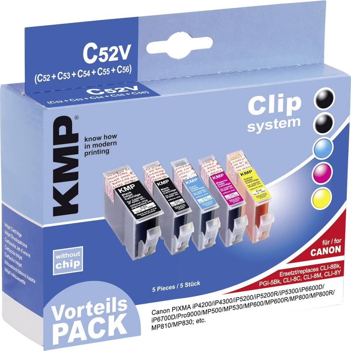 Kompatibilná sada náplní do tlačiarne KMP C52V 1503,0205, čierna, zelenomodrá, purpurová, žltá
