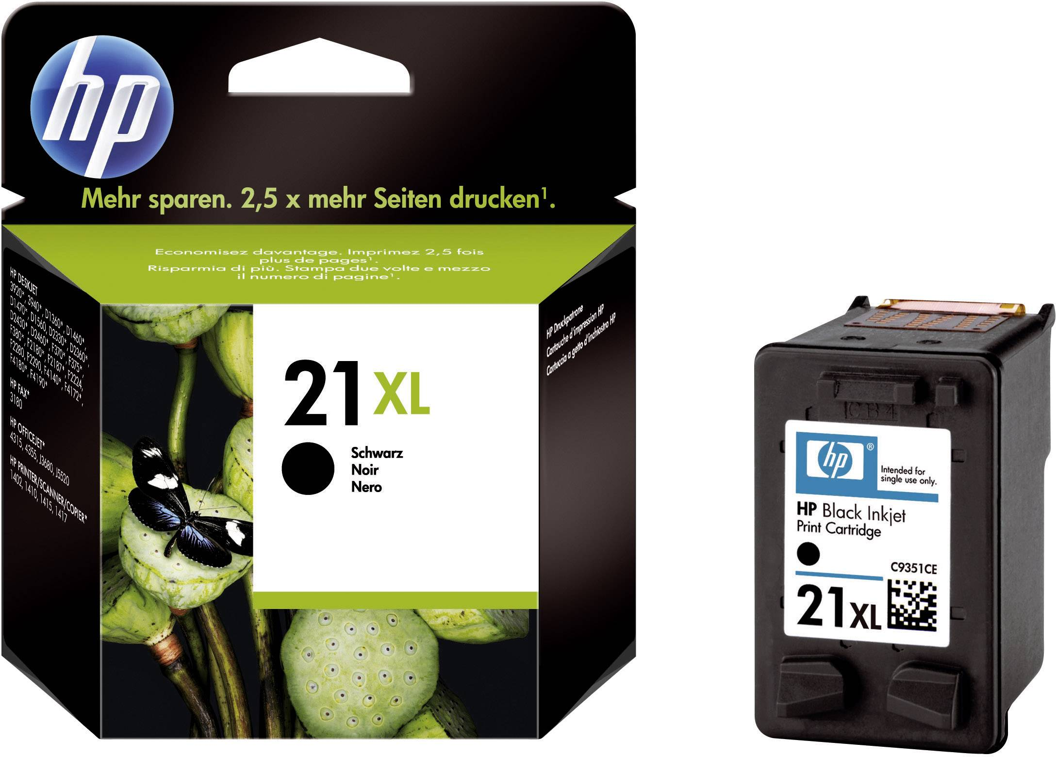 HP Ink cartridge 21XL originál černá C9351CE