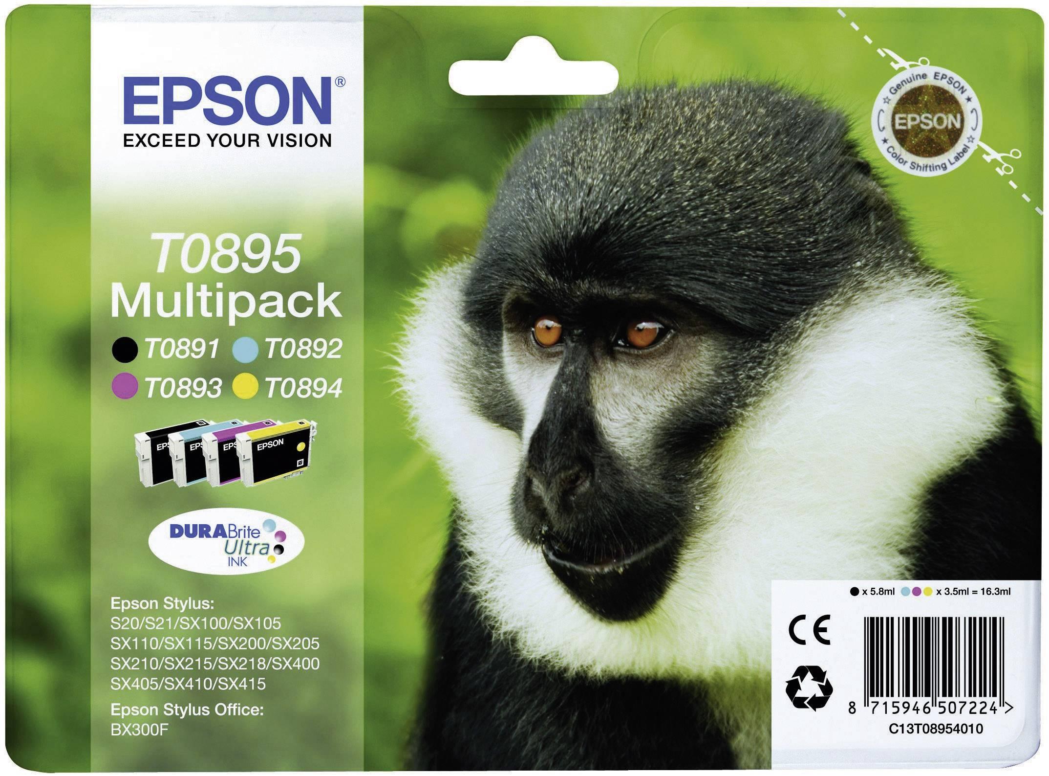 Epson Ink T0895 originál černá, azurová, purppurová, žlutá C13T08954010