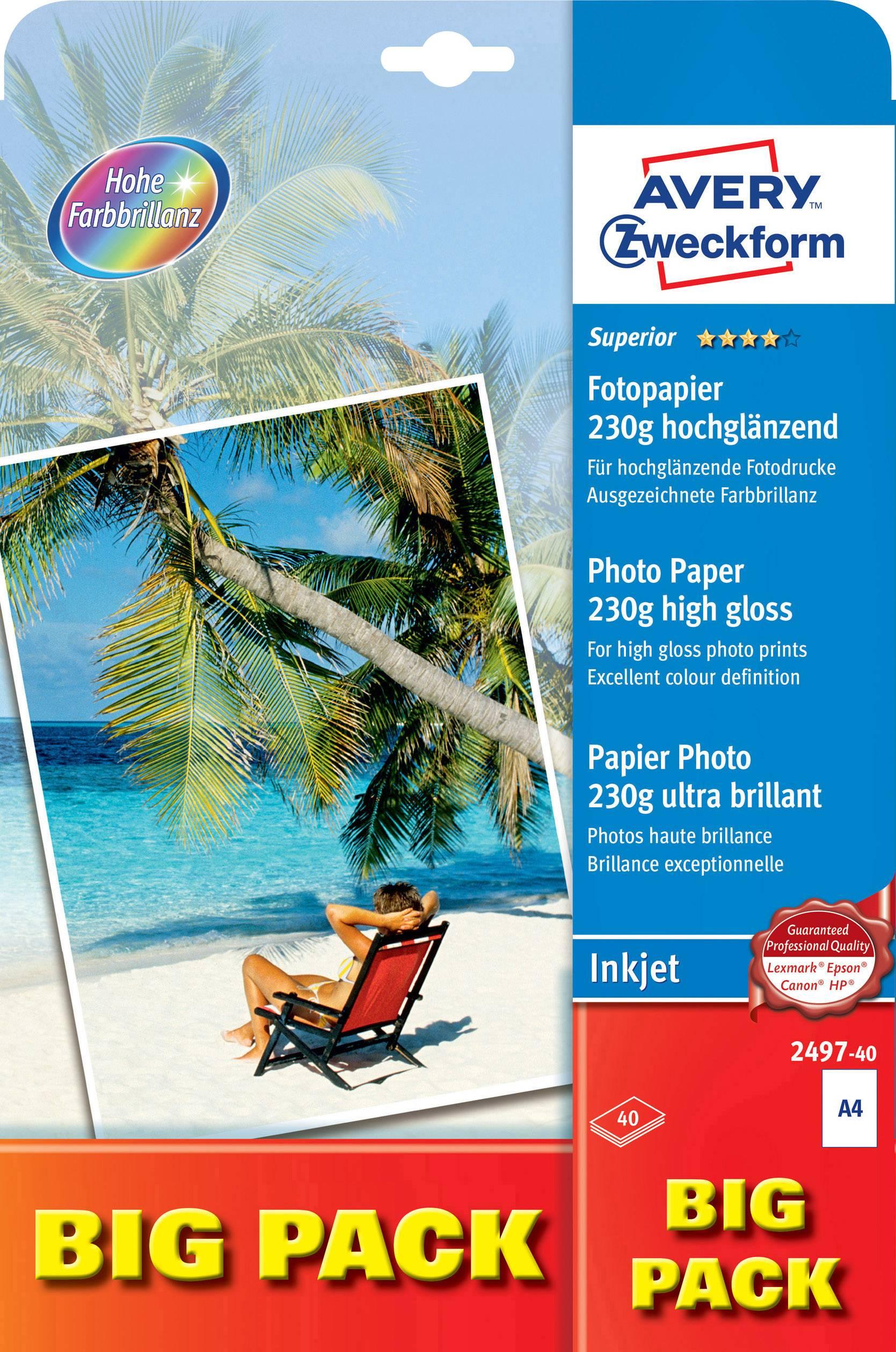 Fotografický papier Avery-Zweckform Superior Photo Paper Inkjet 2497-40, A4, 230 gm², 40 listov