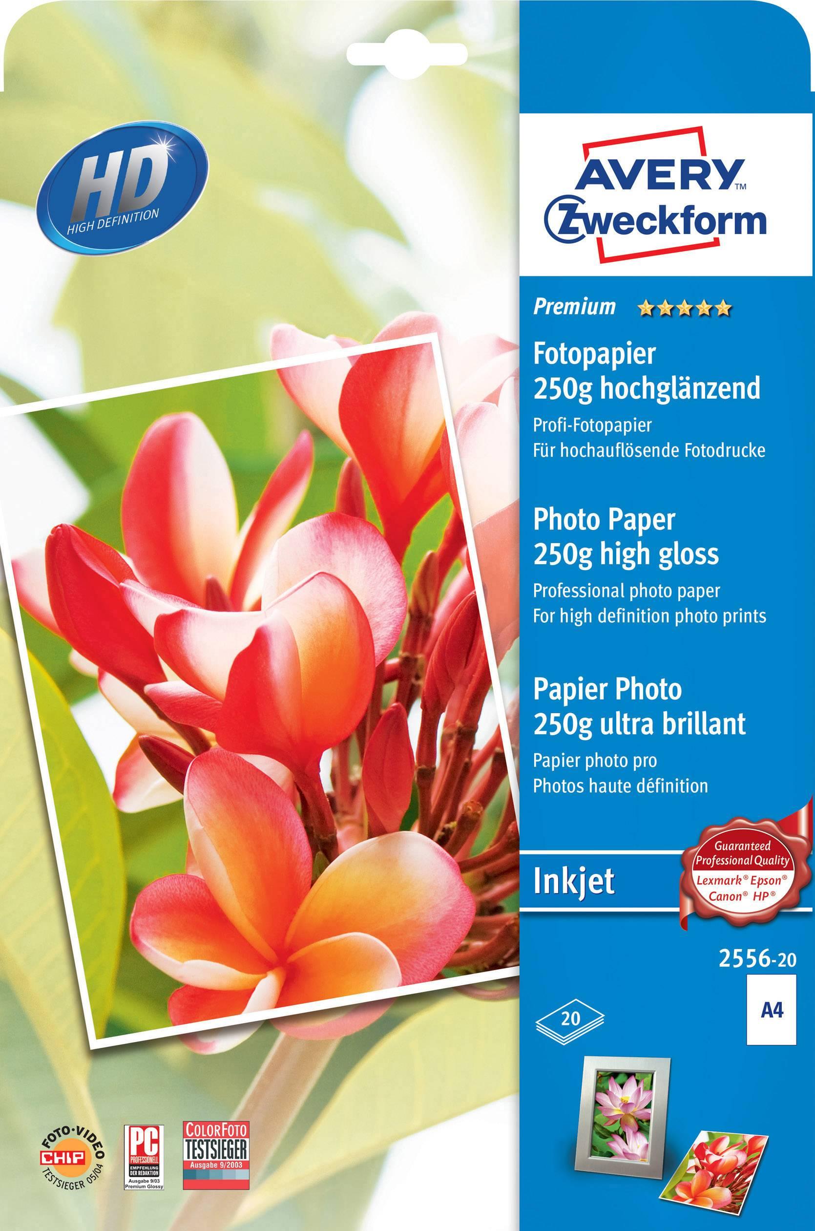 Fotografický papier Avery-Zweckform Premium Photo Paper Inkjet 2556-20, A4, 250 gm², 20 listov