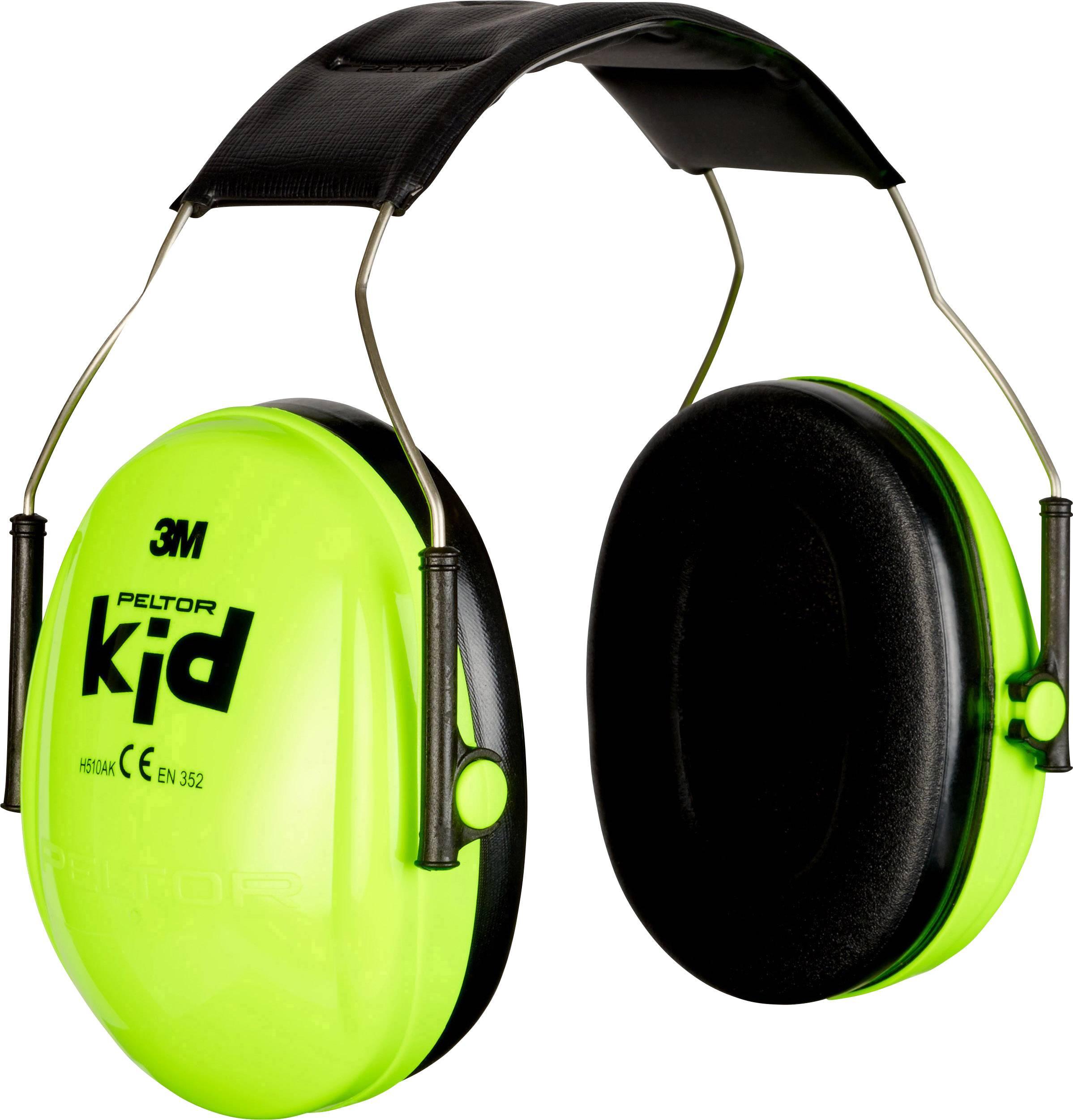 Detské chrániče sluchu Peltor H510AK-442-GB, 27 dB, neónovo zelená