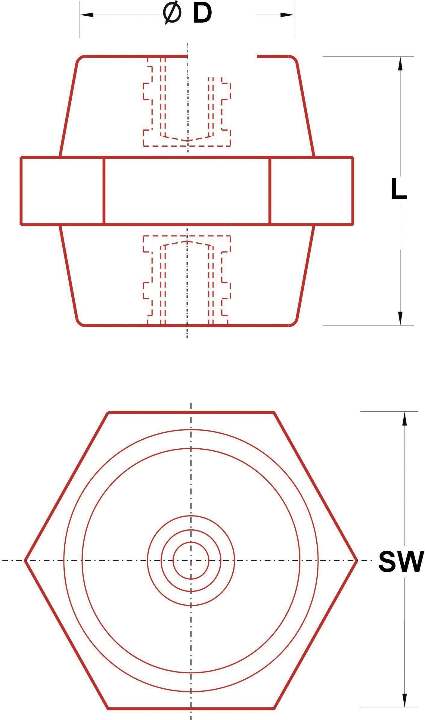 Izolátor M10 ISS-1050, 46 mm, 50 mm