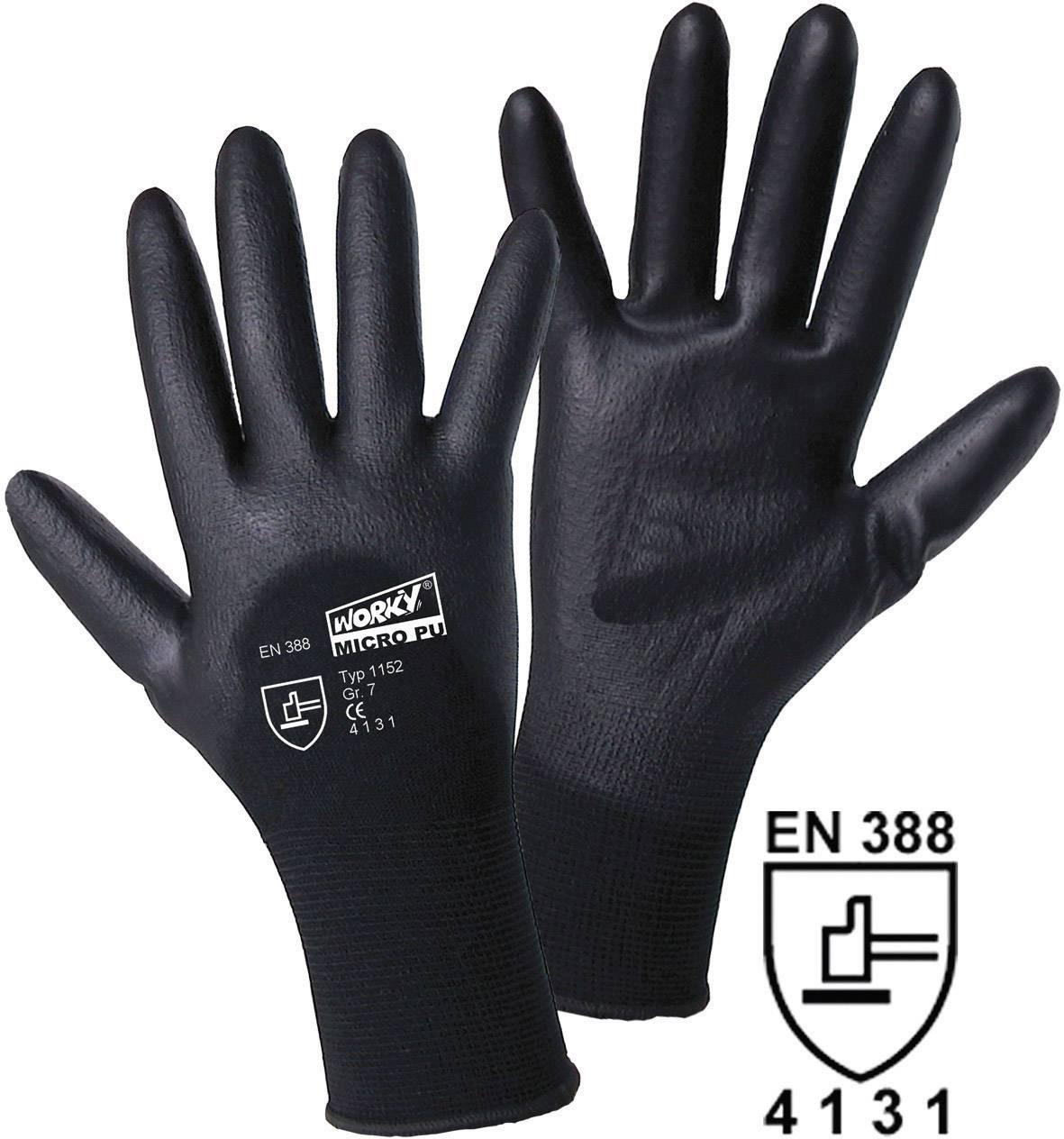Pracovné rukavice worky MICRO black 1152, velikost rukavic: 7, S