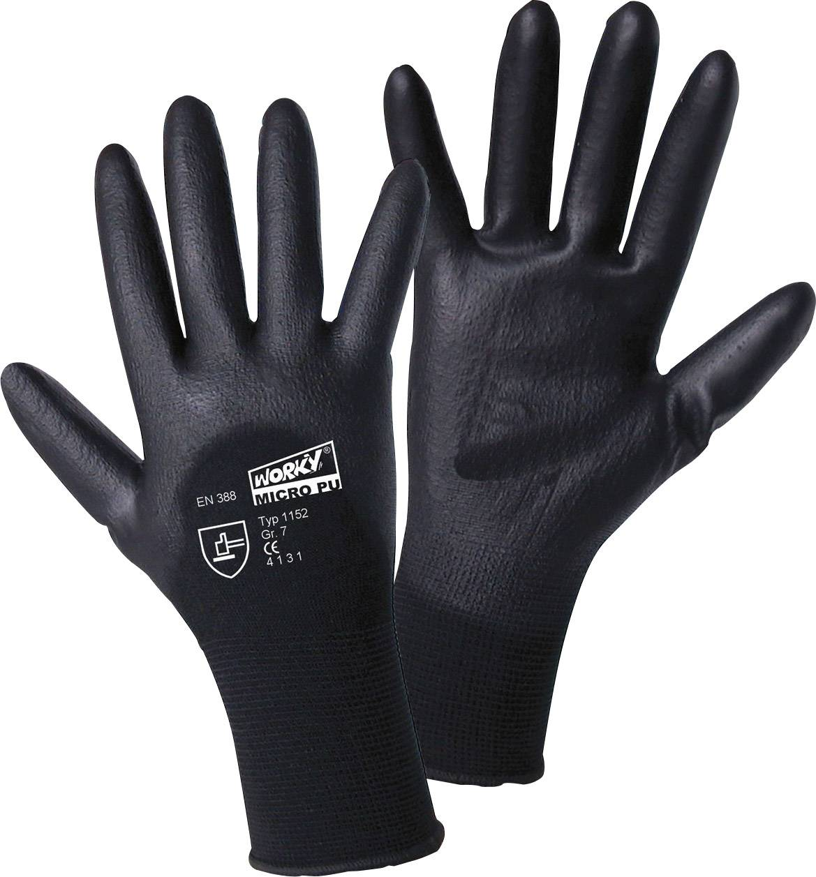 Pracovné rukavice worky MICRO black 1152, velikost rukavic: 8, M