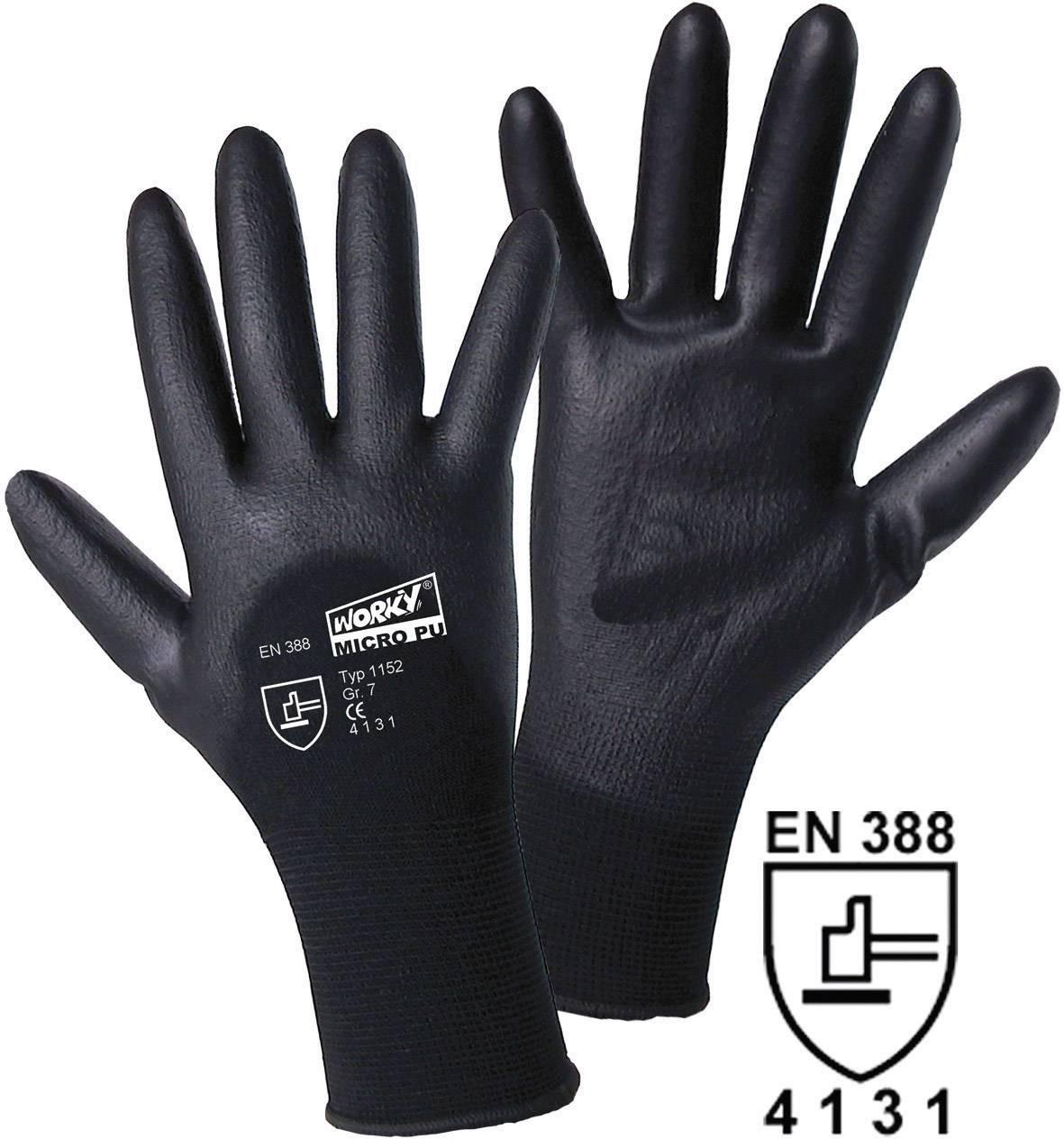 Pracovné rukavice L+D worky MICRO black 1152, velikost rukavic: 9, L