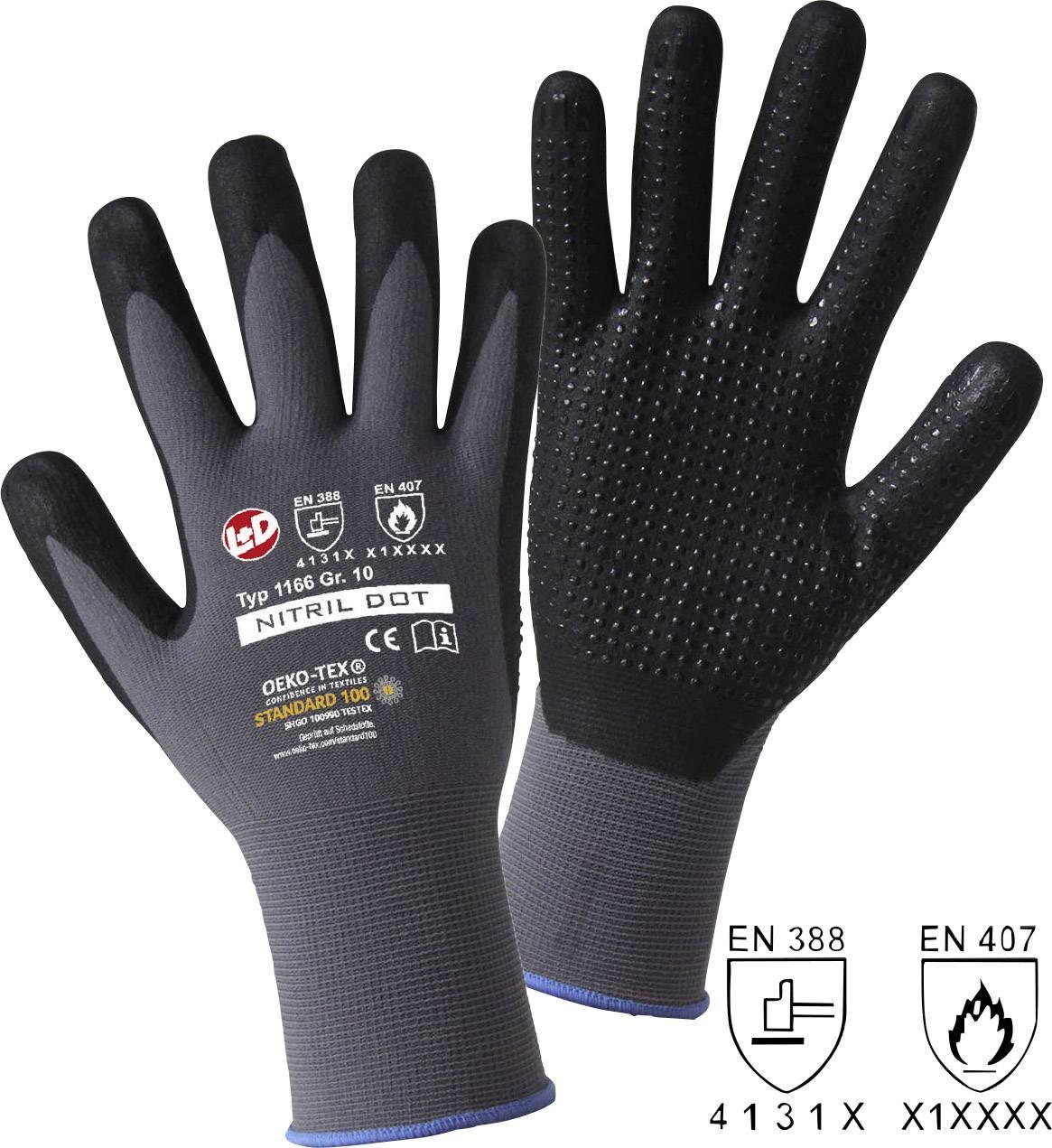 Pracovní rukavice L+D NITRIL DOT 1166, velikost rukavic: 10, XL