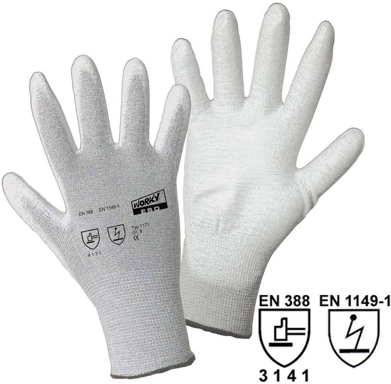 Pracovní rukavice L+D worky ESD Nylon/Carbon-PU 1171, velikost rukavic: 11, XXL