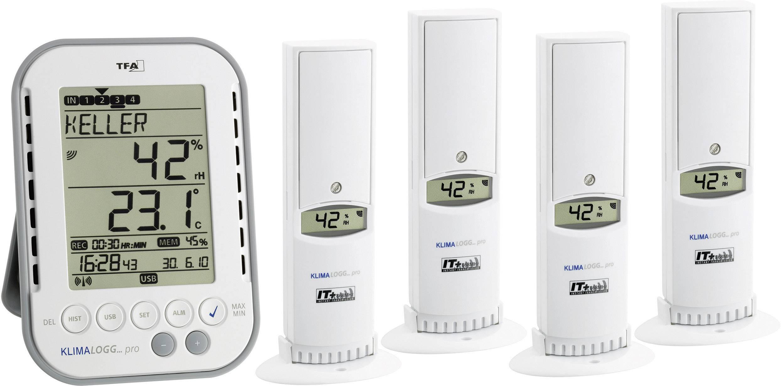 Profesionální sada pro měření vlhkosti a teploty v interiéru TFA 30.3039.IT, 4 senzory