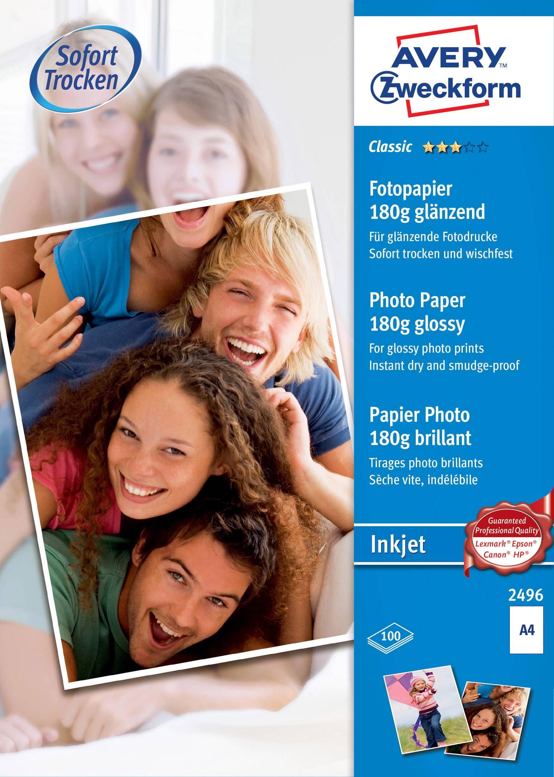 Fotografický papier Avery-Zweckform Classic Photo Paper Inkjet 2496, A4, 180 gm², 100 listov