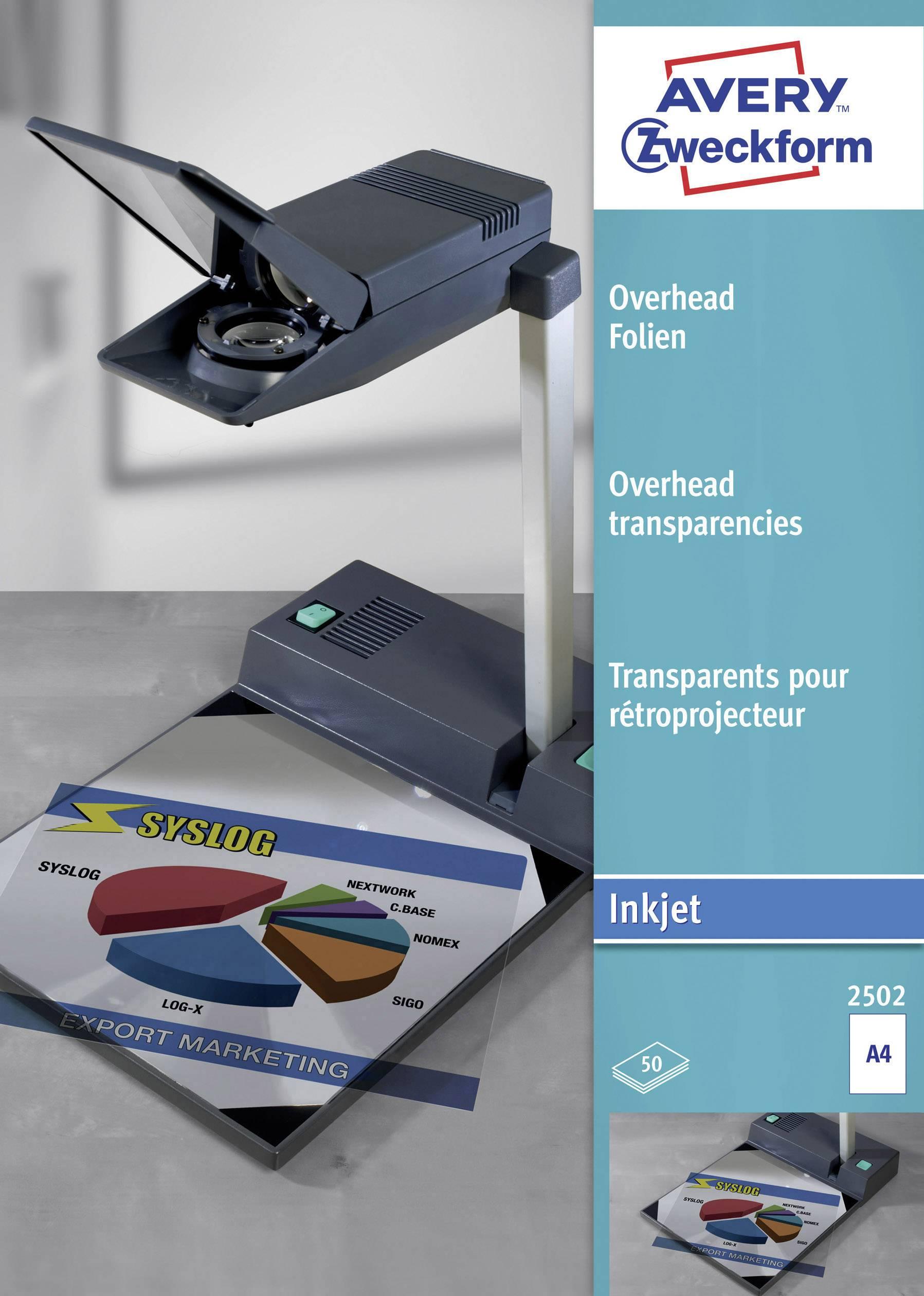 Transparentní fólie A4 do tiskárny a kopírky Avery 2502, 50 ks