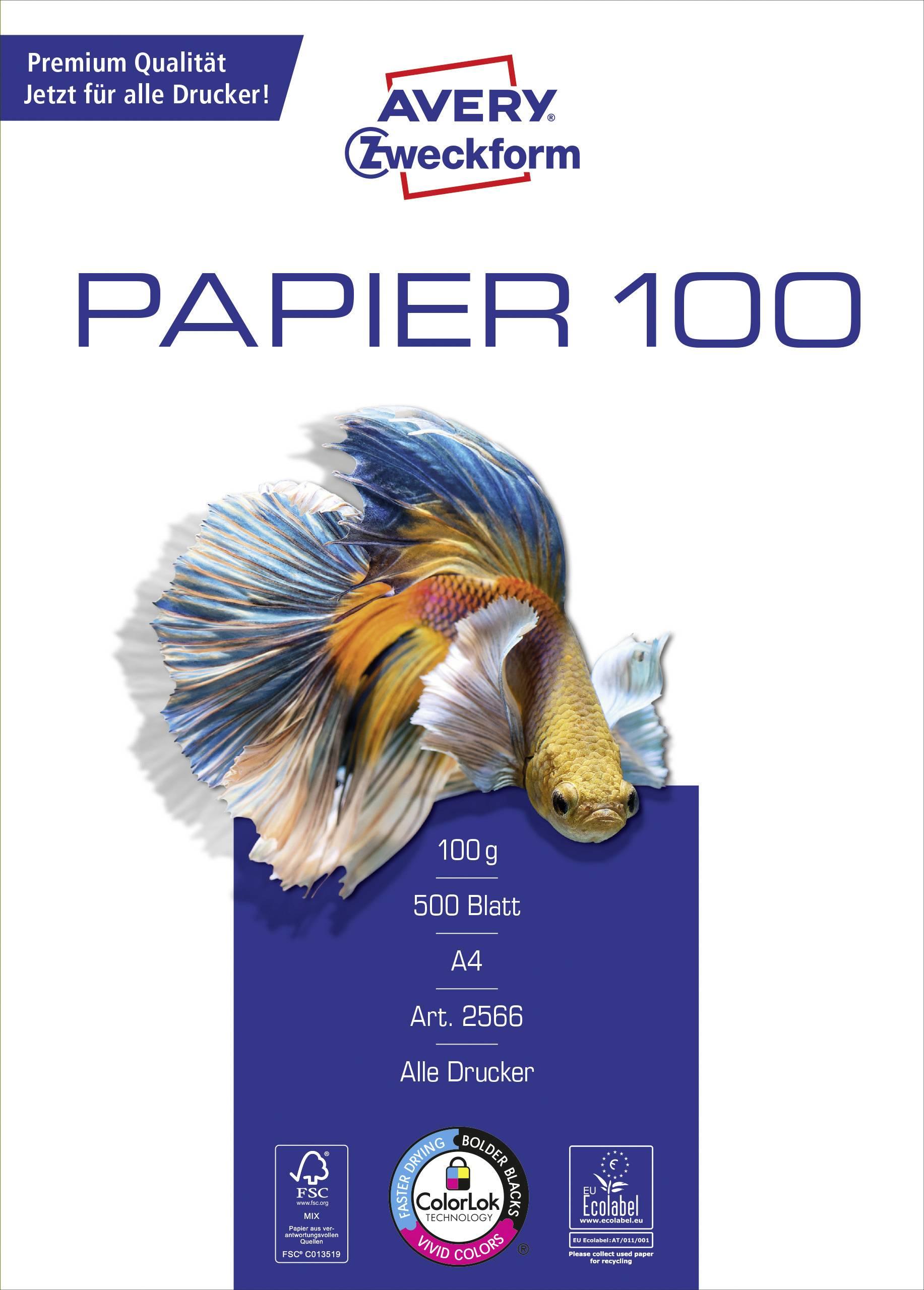 Papier do atramentovej tlačiarne Avery-Zweckform papier do tlačiarne Bright White 2566 DIN A4 100 gm2 500 Sheet snehovo biela
