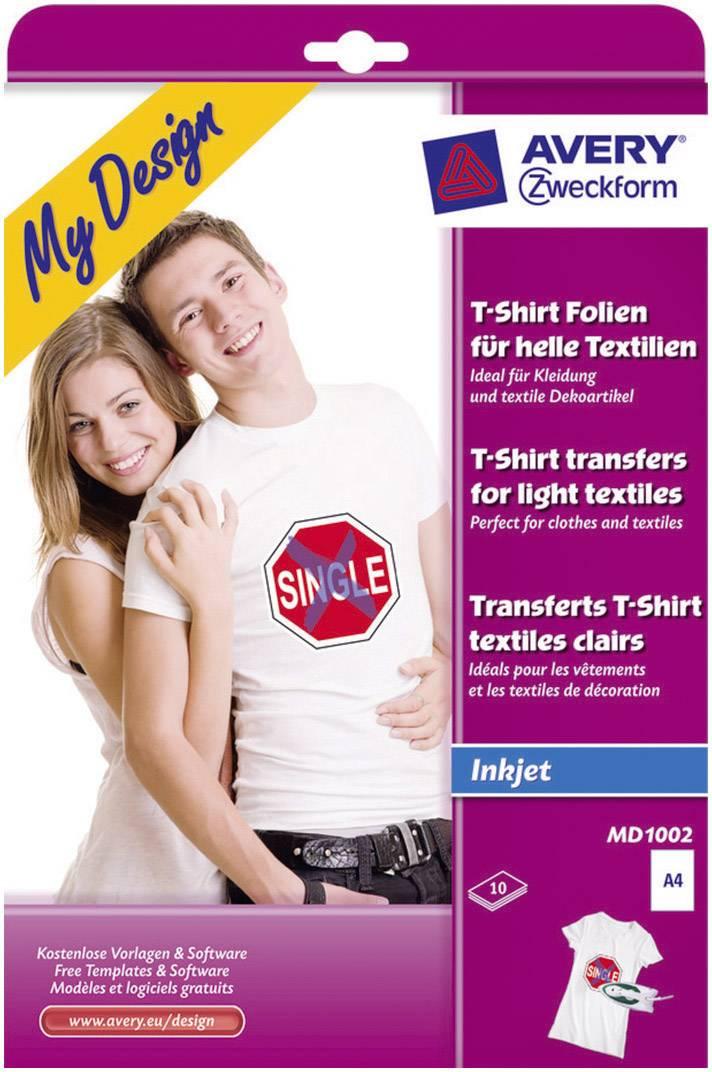 Avery-Zweckform My Design T-Shirt MD1002 A4 optimalizovaný pro tisk inkoustem 10 listů