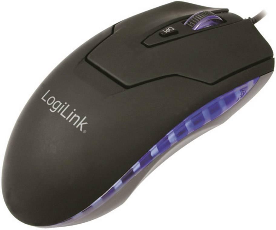 Laserový/á USB myš LogiLink ID0009A ID0009A, podsvietenie, čierna