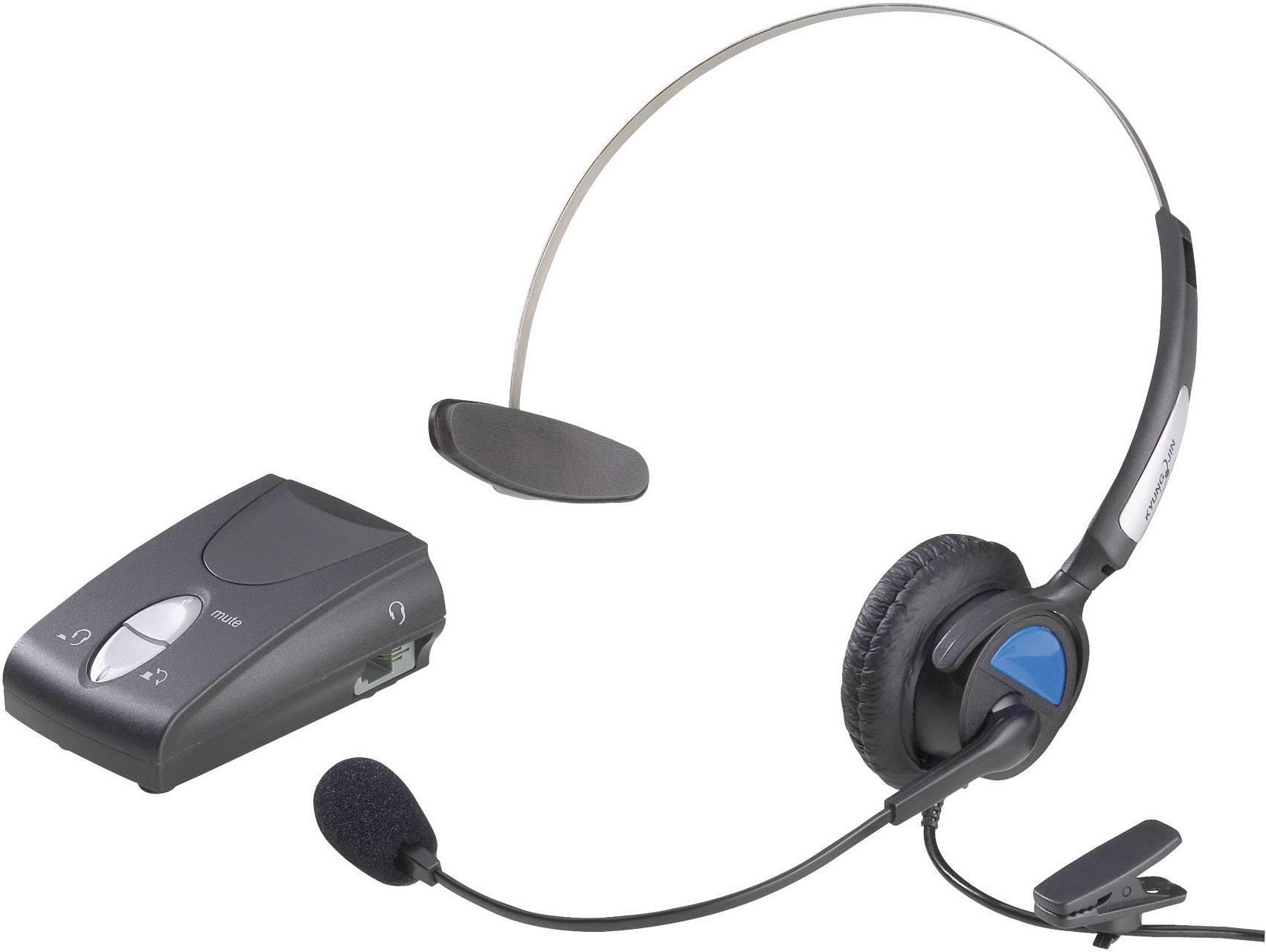 Telefónny headset KJ-97, káblový, mono, čierna