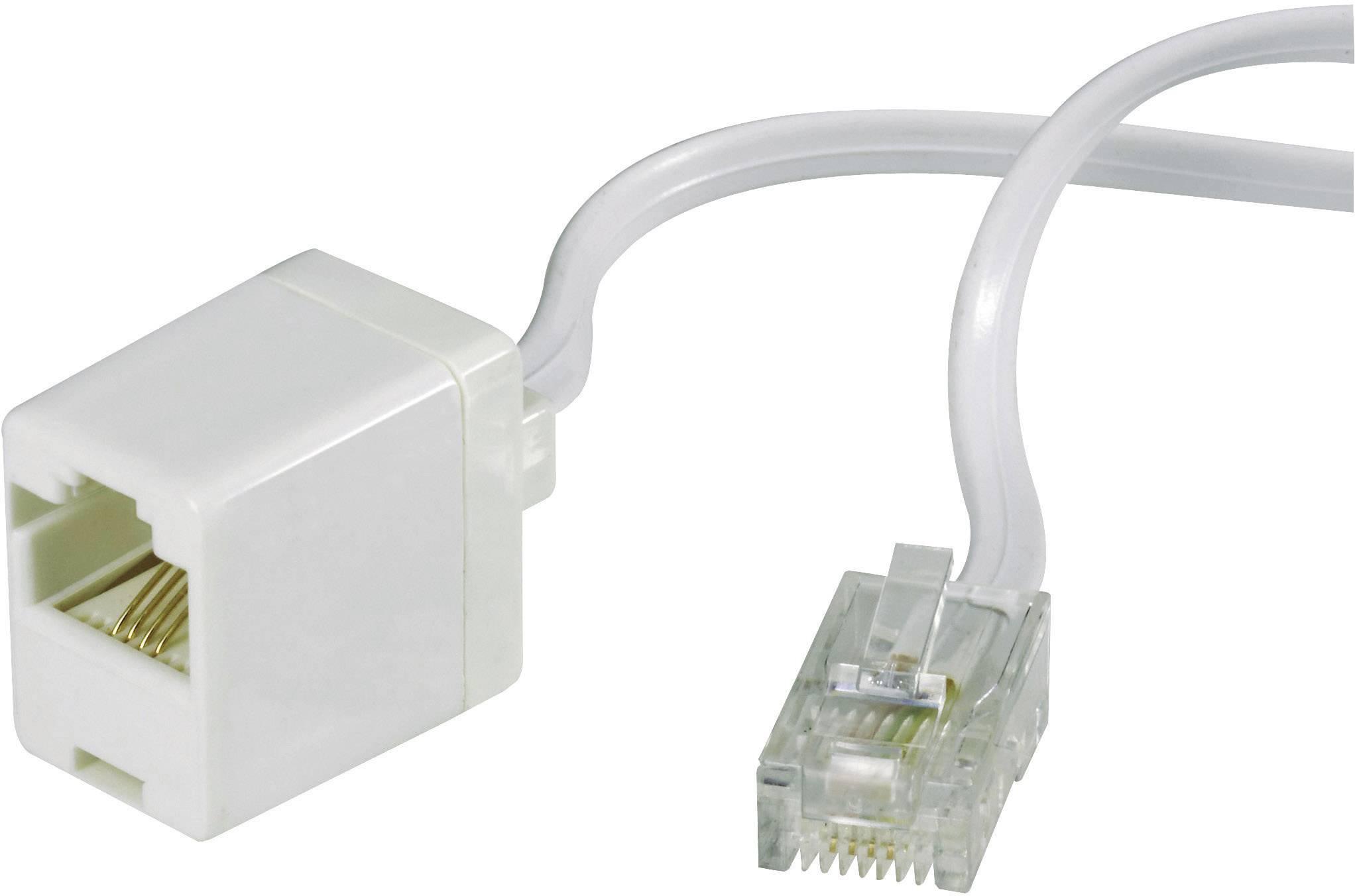 ISDN prodlužovací kabel Wentronic, RJ45, 4žilový, 3 m, bílá