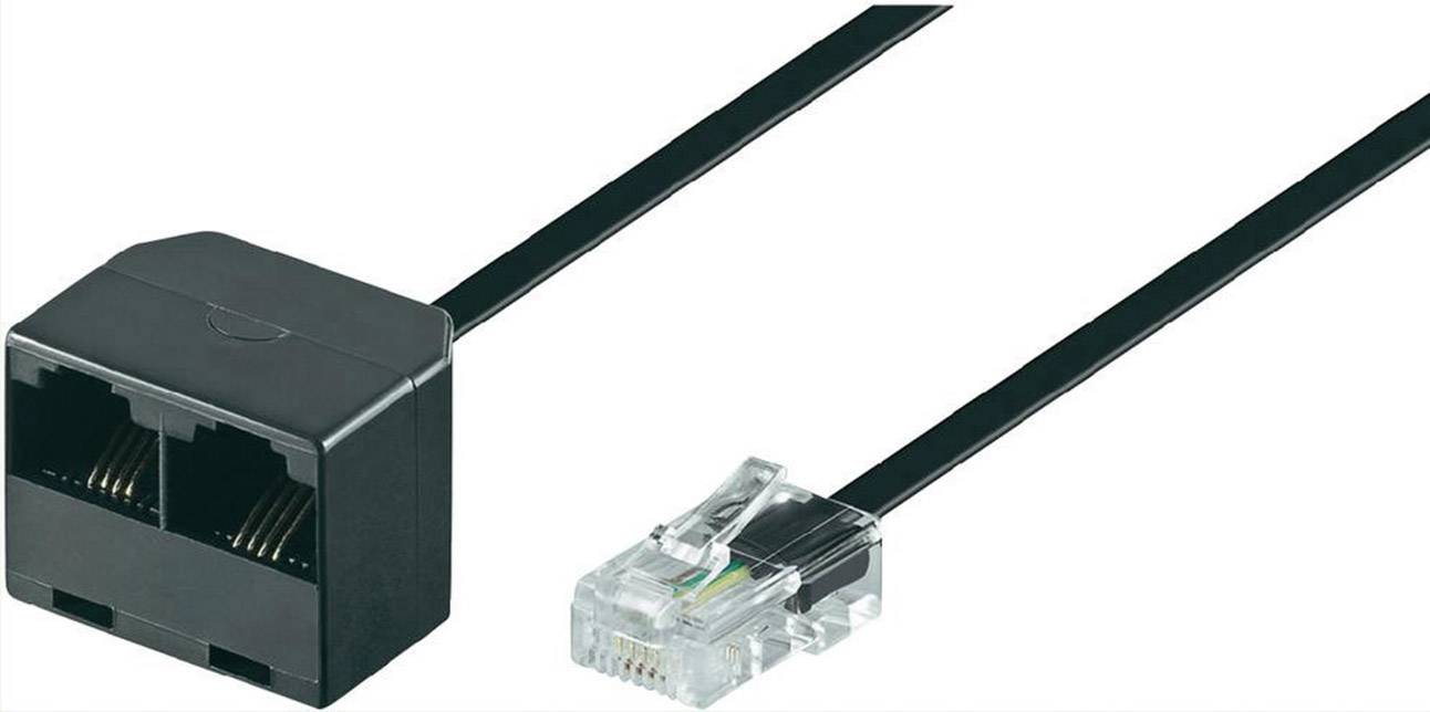 ISDN rozdělovač Wentronic, 1x zástrčka RJ45, 2x zásuvka RJ45, 0,20 m, černá