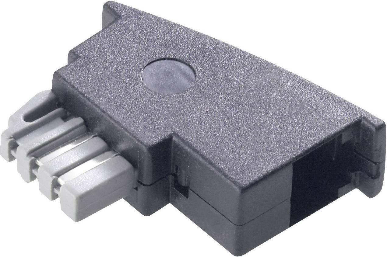 TAE adaptér, TAE-N zástrčka ⇔ RJ11 zásuvka 6p4c, černá