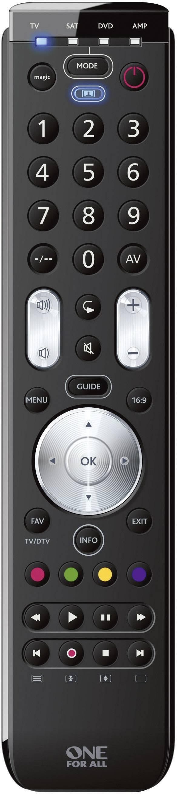 Univerzálne diaľkové ovládanie na TV, Set-top-Box, DVD, BluRay One For All URC 7140 Essence 4 čierna