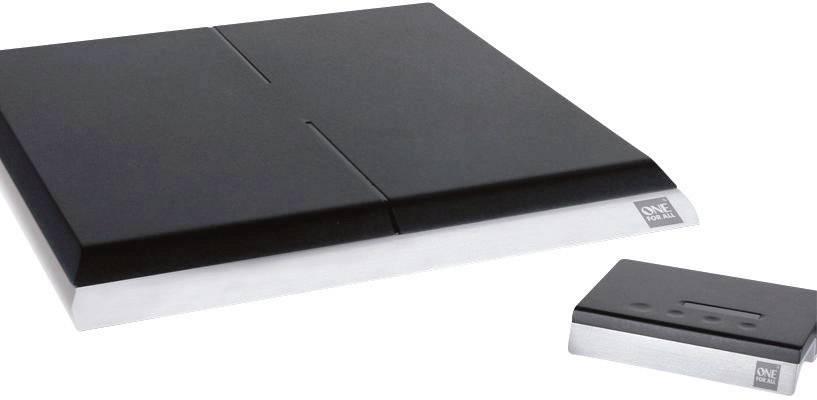 Aktivní plochá DVB-T/T2 anténa One For All SV 9395, vnitřní, 51 dB, černá, stříbrná (kartáčovaná)