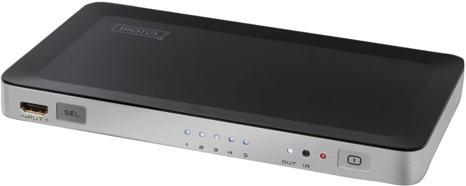 Prepínač HDMI Digitus DS-45300, s 5 portmi, s diaľkovým ovládaním, možnosť 3D prehrávania