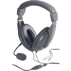Headset k PC jack 3,5 mm na kabel, stereo Basetech BT-260A přes uši černá