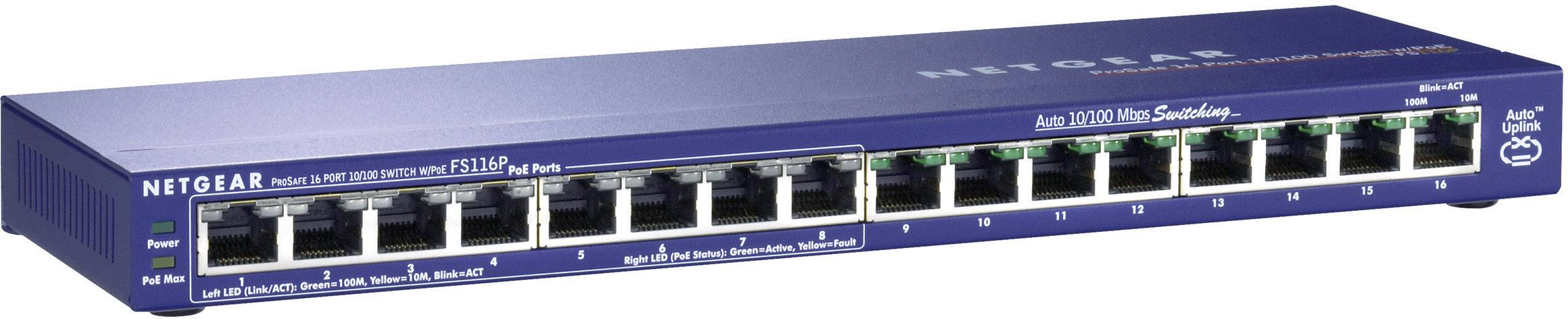 Sieťový switch RJ45 NETGEAR FS116P, 16 portov, 100 Mbit/s, funkcia PoE