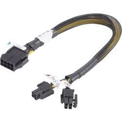 Napájecí prodlužovací kabel Akasa AK-CB8-8-EXT, [1x PCI-E zástrčka 8-pólová - 2x PCI-E zástrčka 4-polóvá], 30 cm, žlutá, černá