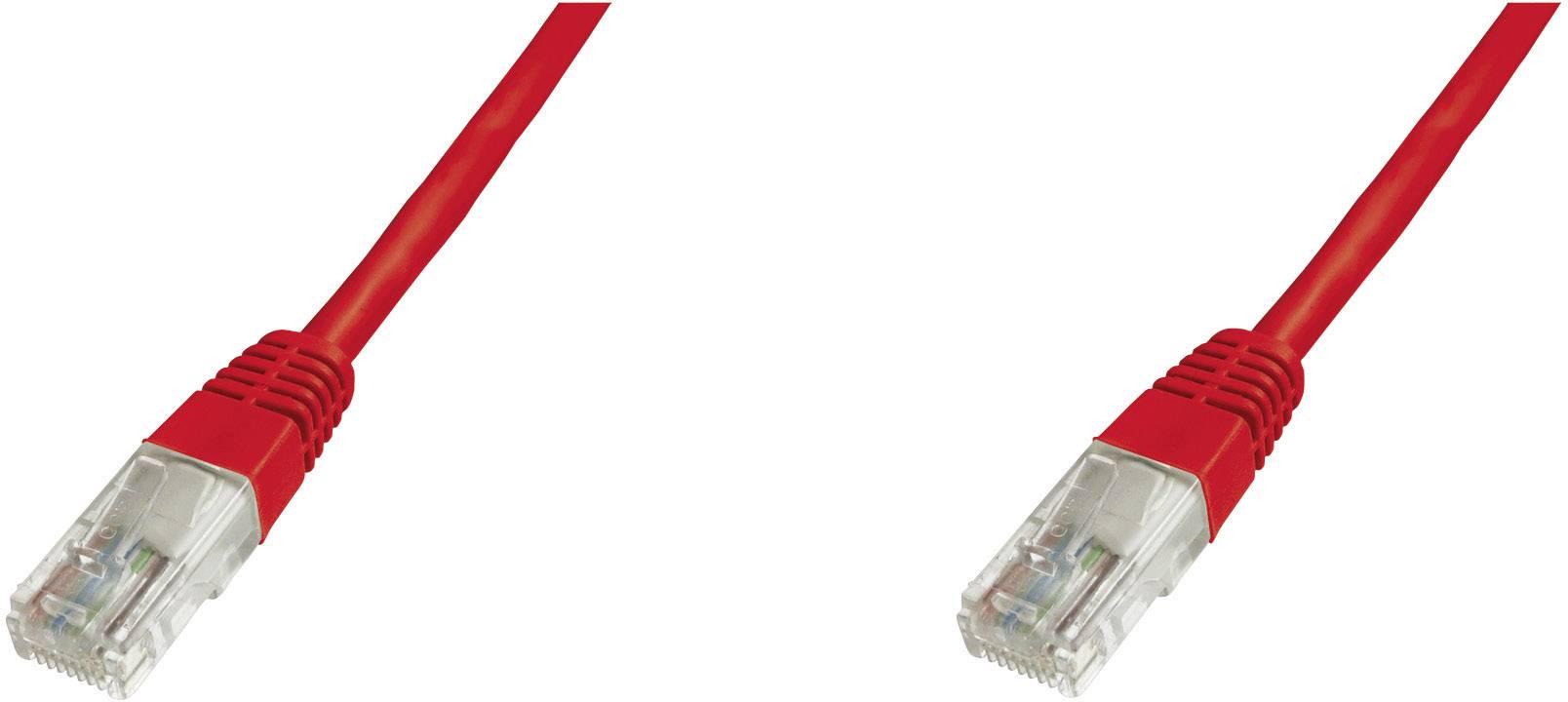Patch kabel CAT 5e, U/UTP RJ 45, vidlice ⇔ vidlice, 1 m, červený