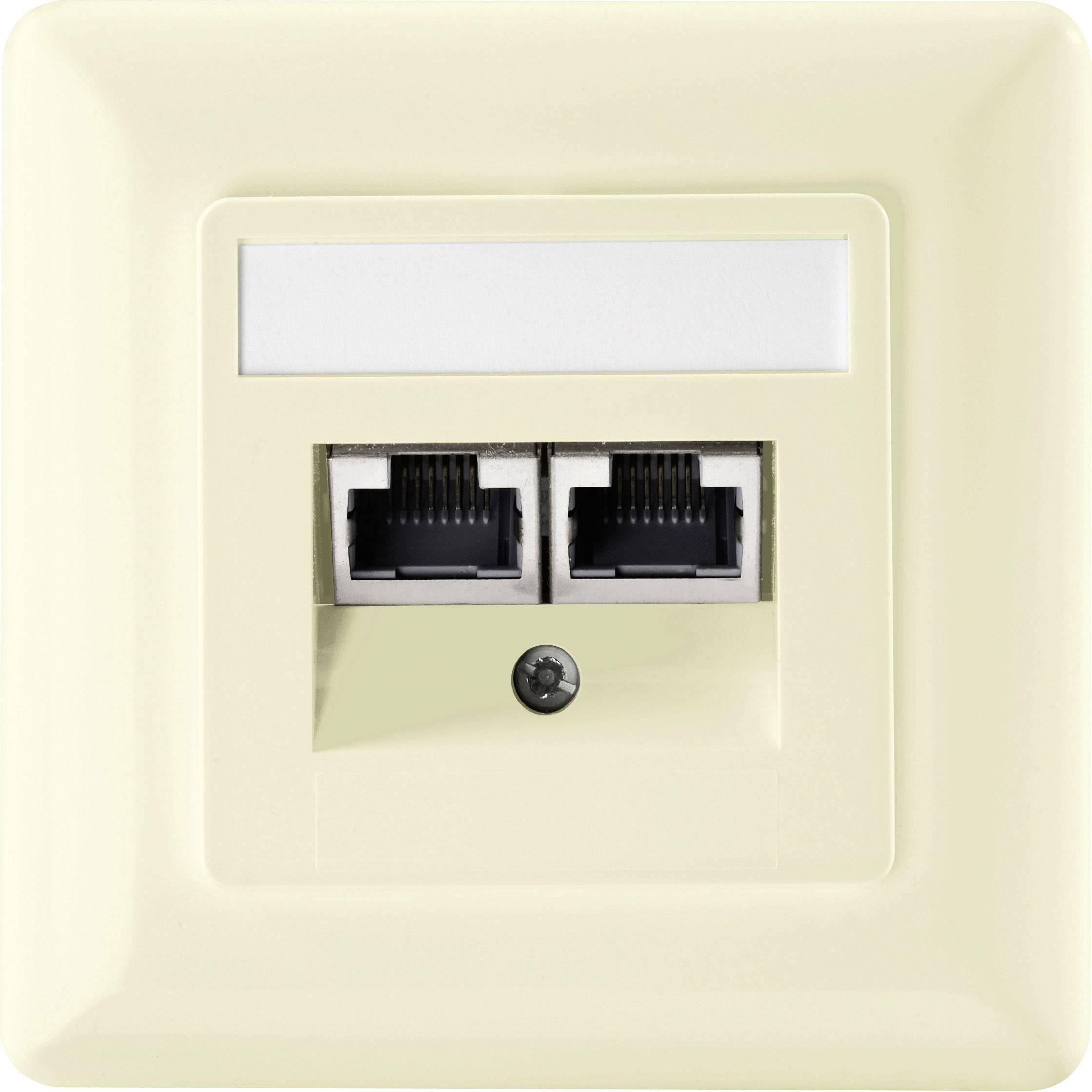 Sieťová zásuvka pod omietku Setec 604680, CAT 5e, s 2 portmi, čisto biela