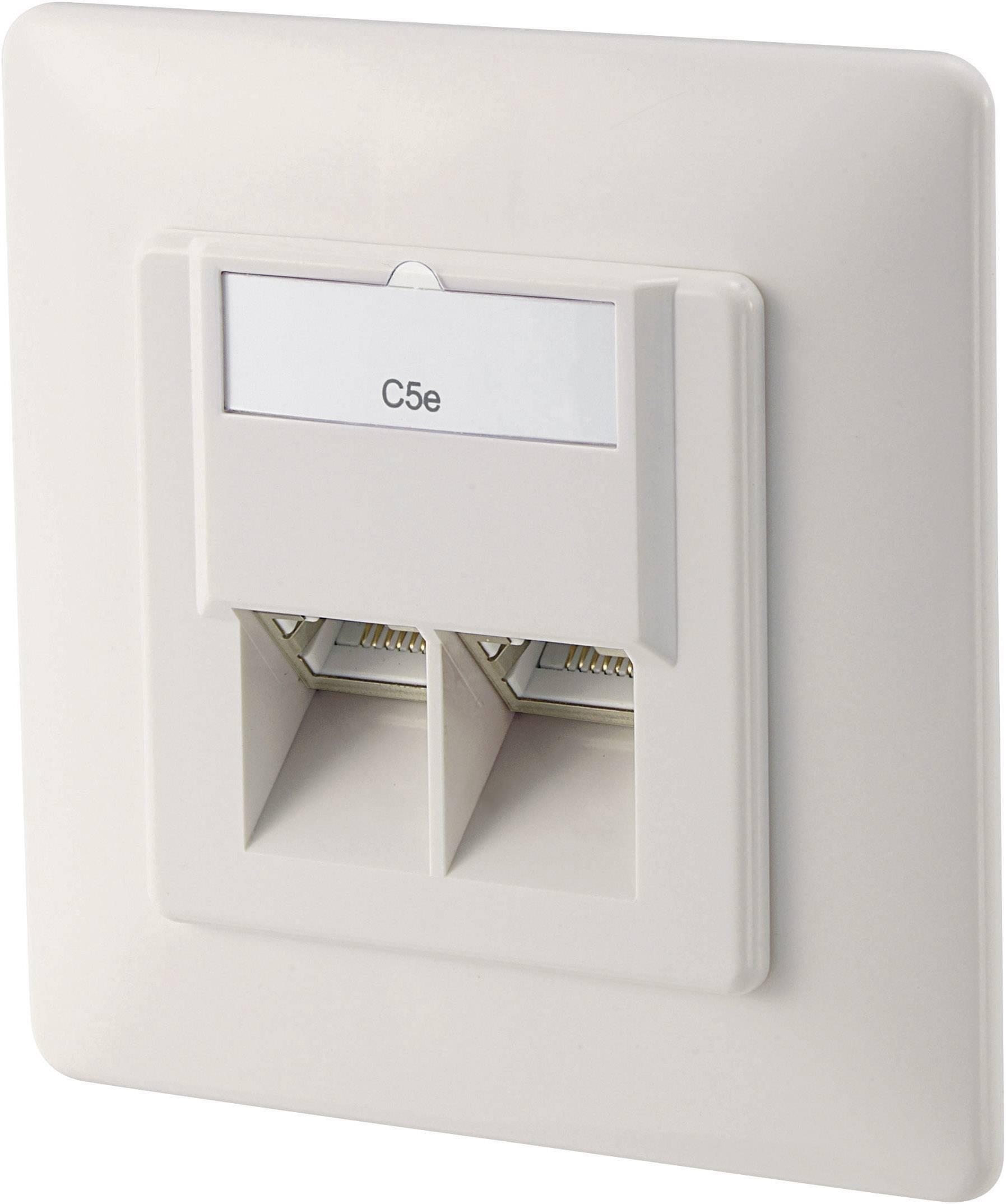 Sieťová zásuvka pod omietku Digitus Professional DN-9001-N, CAT 5e, s 2 portmi, čisto biela