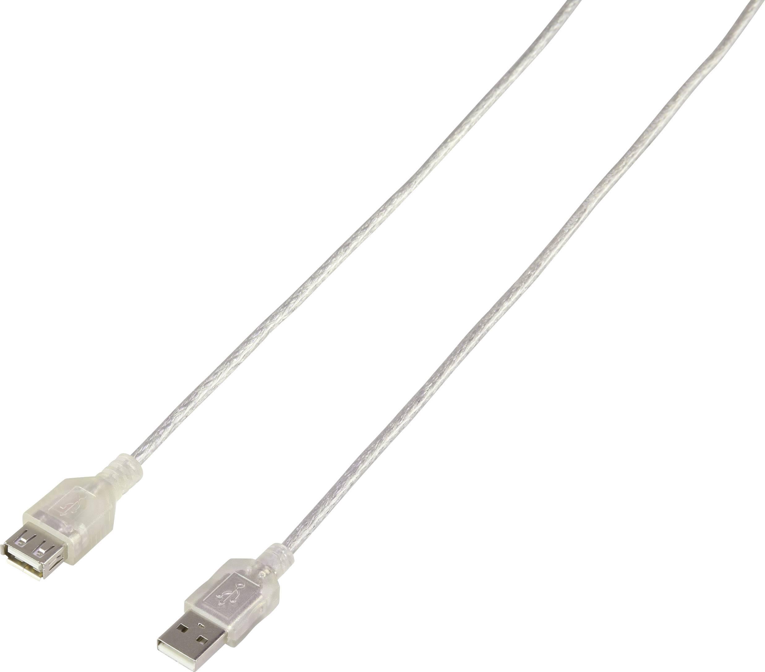 USB 2.0 prodlužovací kabel Renkforce RF-2916909, [1x USB 2.0 zástrčka A - 1x USB 2.0 zásuvka A], 3 m, transparentní