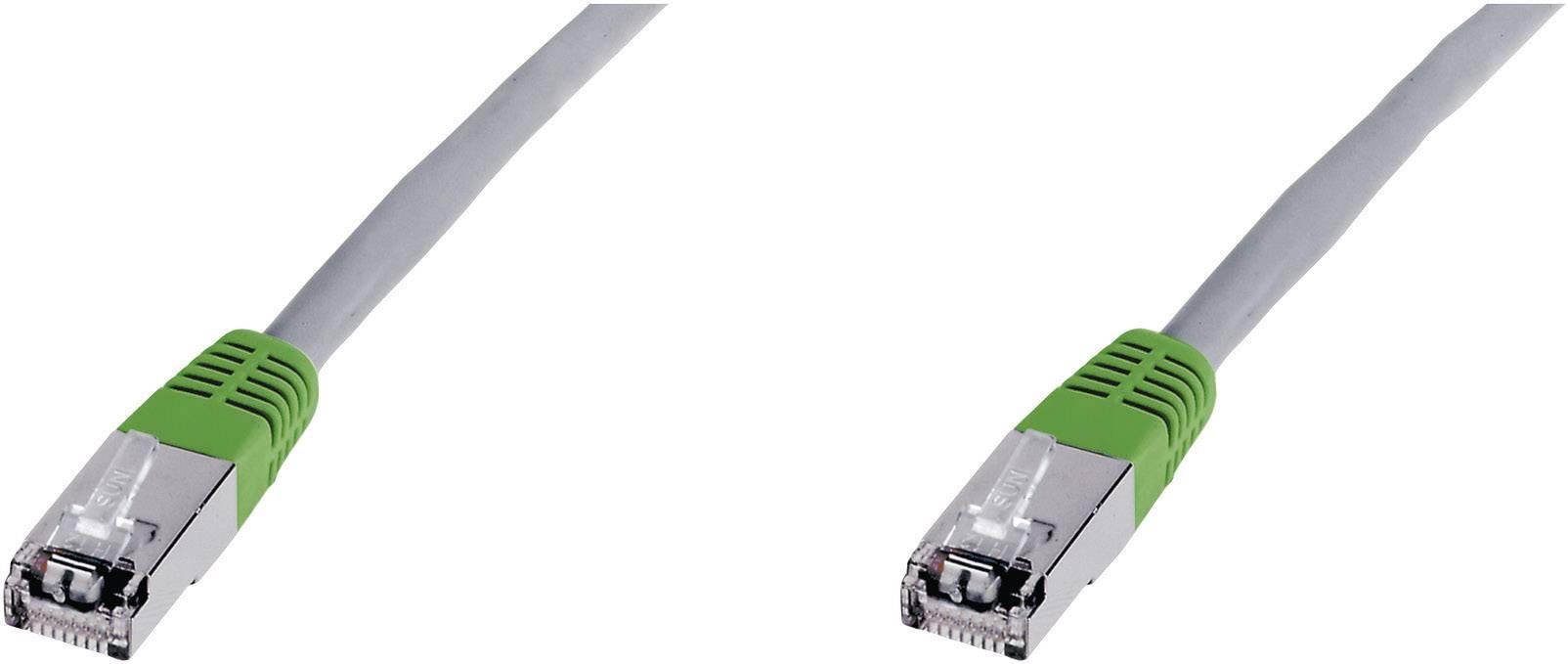 Patch kabel CAT 5e F/UTP RJ 45 , vidlice ⇔ vidlice, 0,5 m, šedý