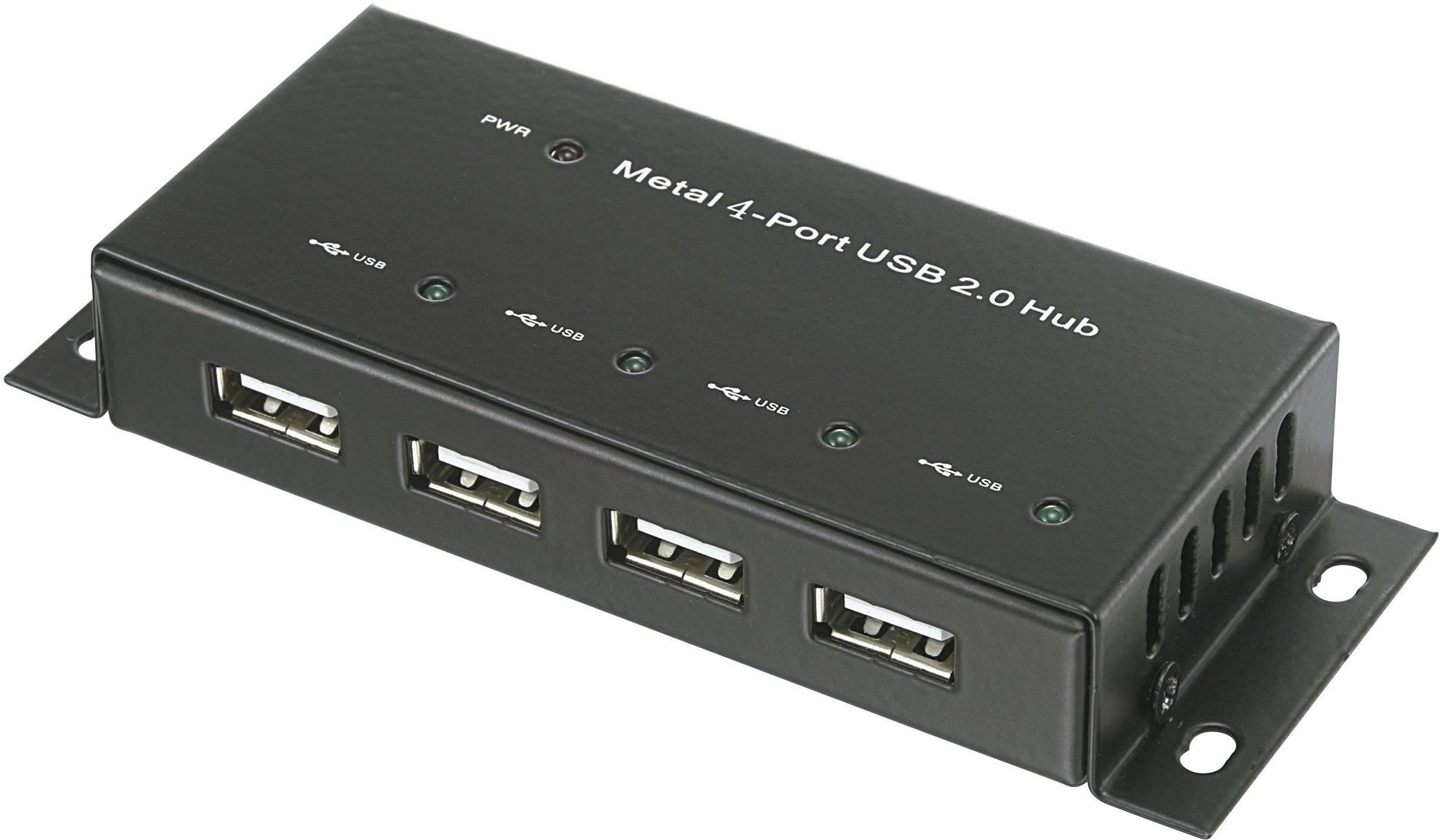 USB 2.0 hub 972434, s 4 portmi, 45 mm, čierna