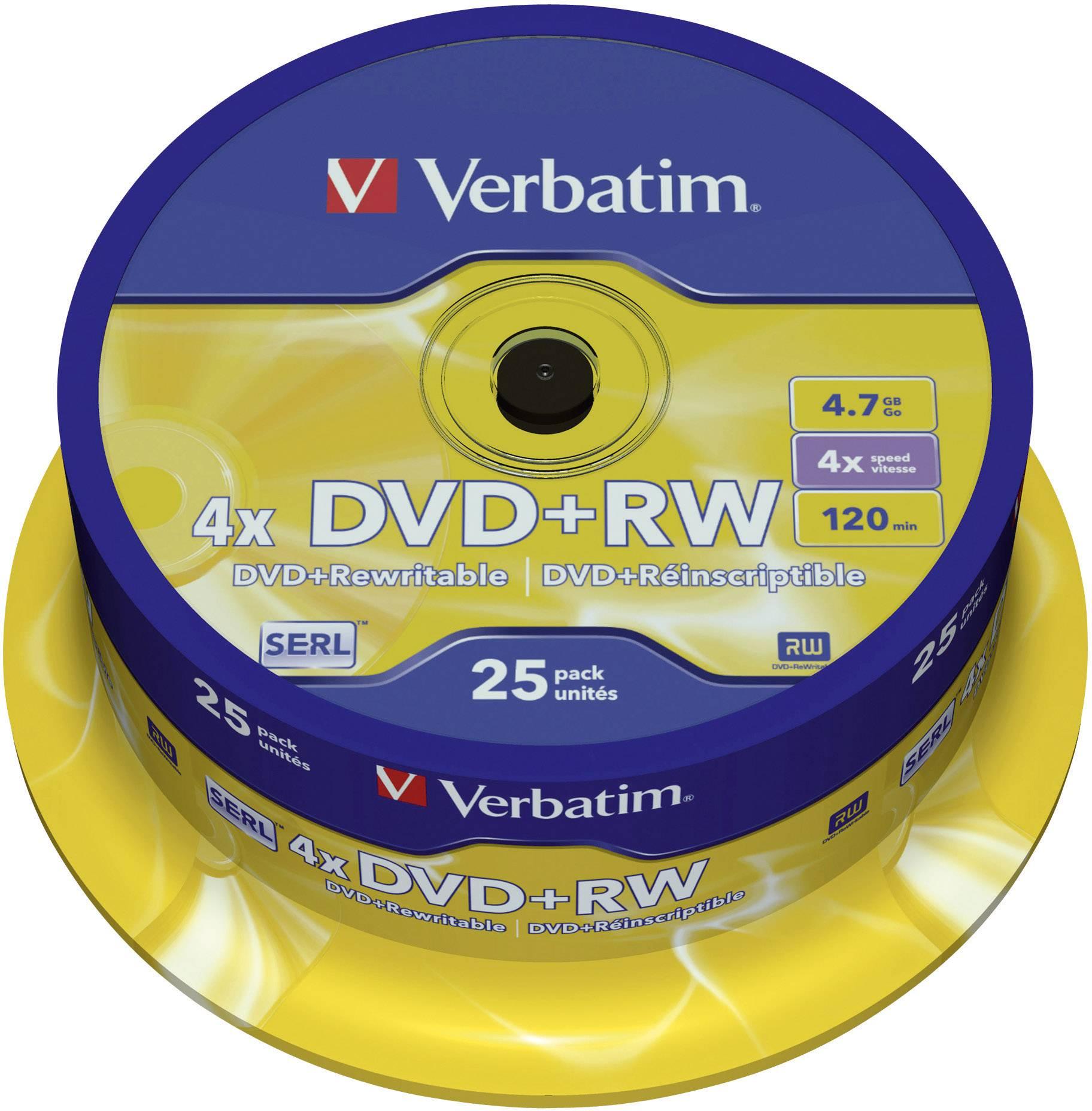 DVD+RW 4.7 GB Verbatim 43489, prepisovateľné, 25 ks, vreteno