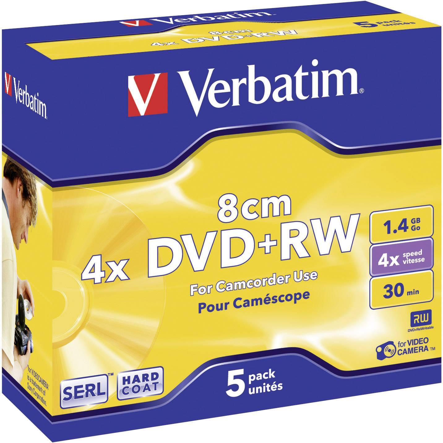 Mini DVD+RW- 8 cm 1.4 GB Verbatim 43565, prepisovateľné, strieborný matný povrch, 5 ks, Jewelcase