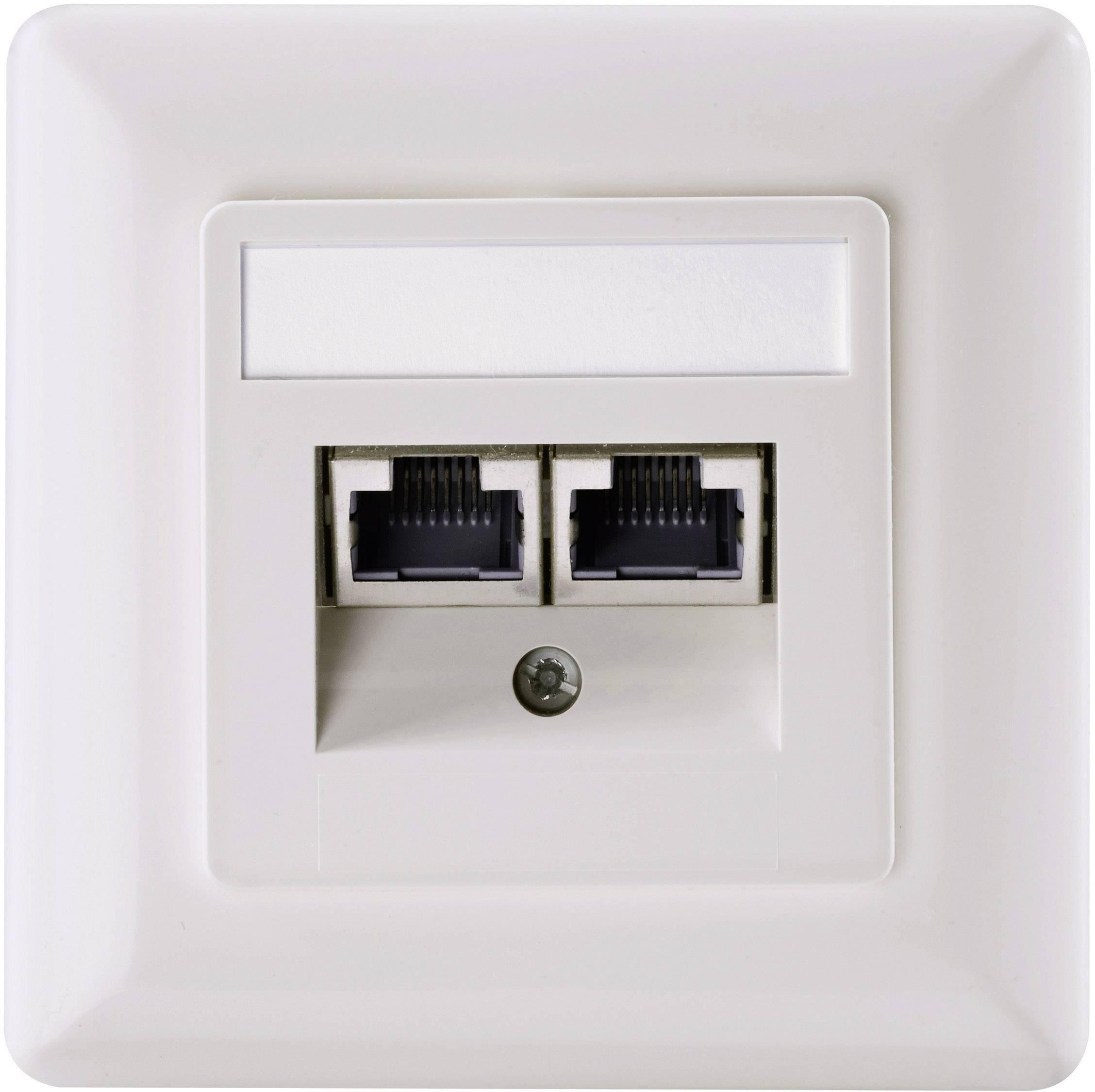 Sieťová zásuvka pod omietku Setec 501286, CAT 5e, s 2 portmi, perlovo biela