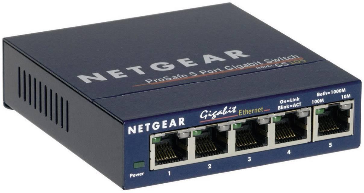 Sieťový switch RJ45 NETGEAR GS105GE, s 5 portmi, 1 Gbit/s