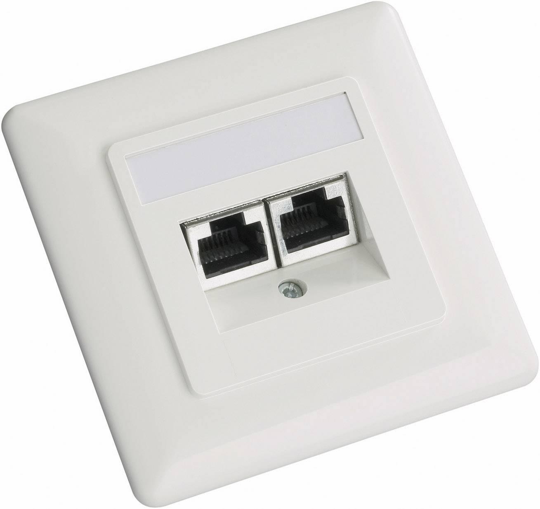 Sieťová zásuvka pod omietku Setec 604666, CAT 5e, s 2 portmi, perlovo biela