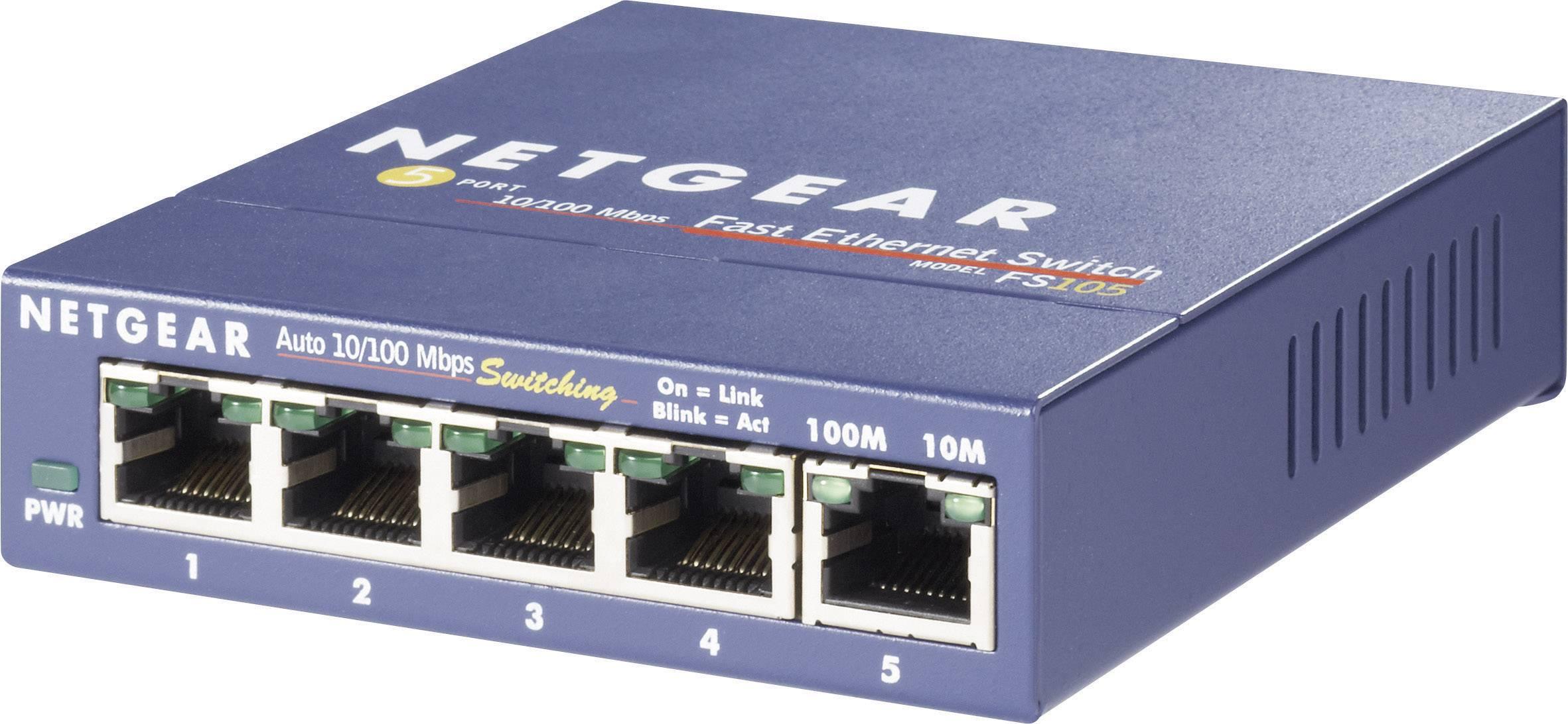 Síťový switch NETGEAR, FS105, 5 portů, 100 Mbit/s