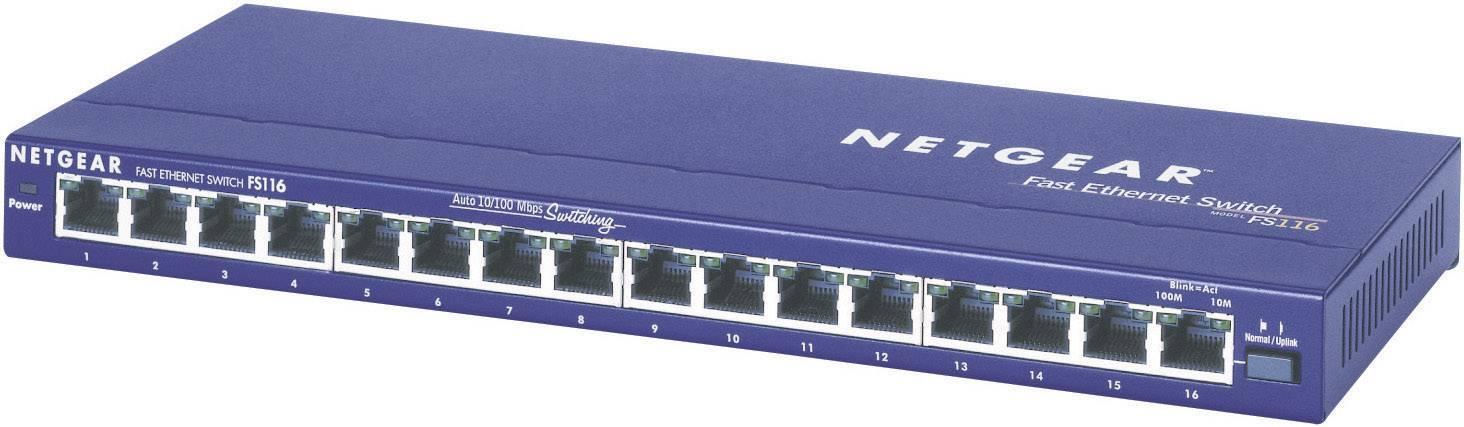 Switch Netgear Ethernet, 16-portový FS116, RJ45