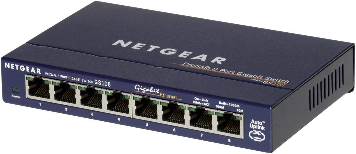 Sieťový switch RJ45 NETGEAR GS108GE, 8 portov, 1 Gbit/s