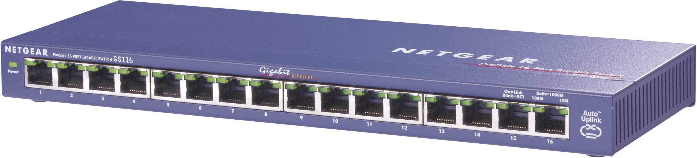 Sieťový switch RJ45 NETGEAR GS116GE, 16 portov, 1 Gbit/s