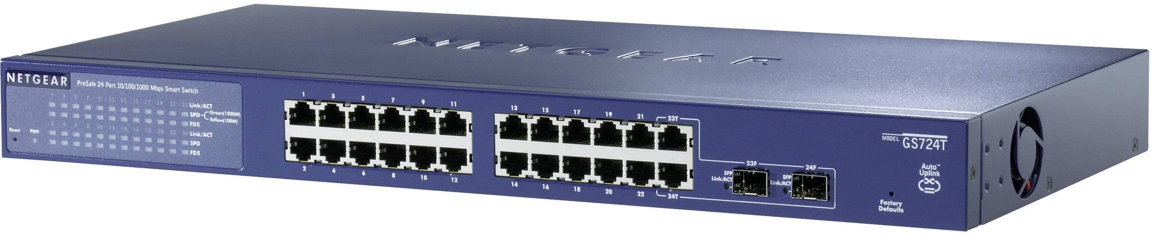 """19"""" síťový switch RJ45/SFP NETGEAR, GS724T, 1 Gbit/s"""