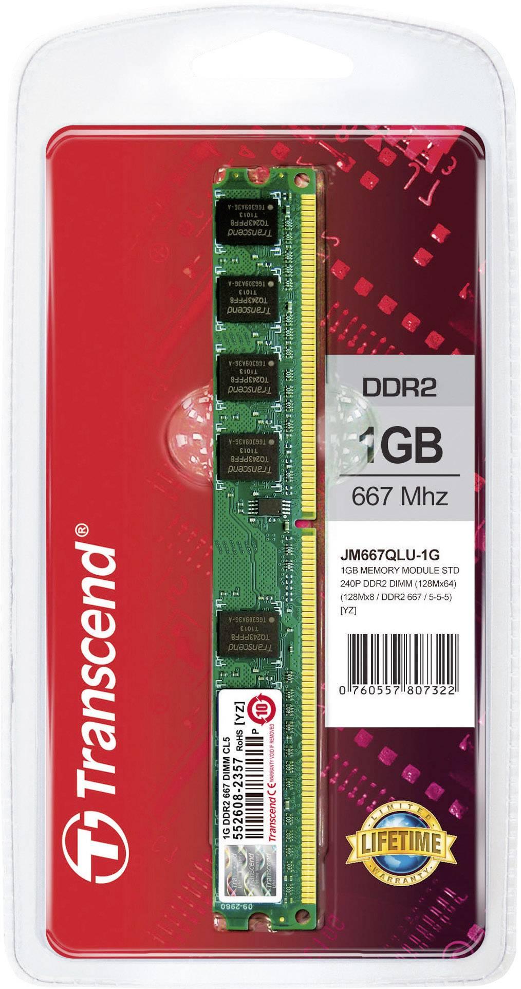 Modul RAM pro PC Transcend JetRam JM667QLU-1G 1 GB 1 x 1 GB DDR2 RAM 667 MHz CL5 5-5-15